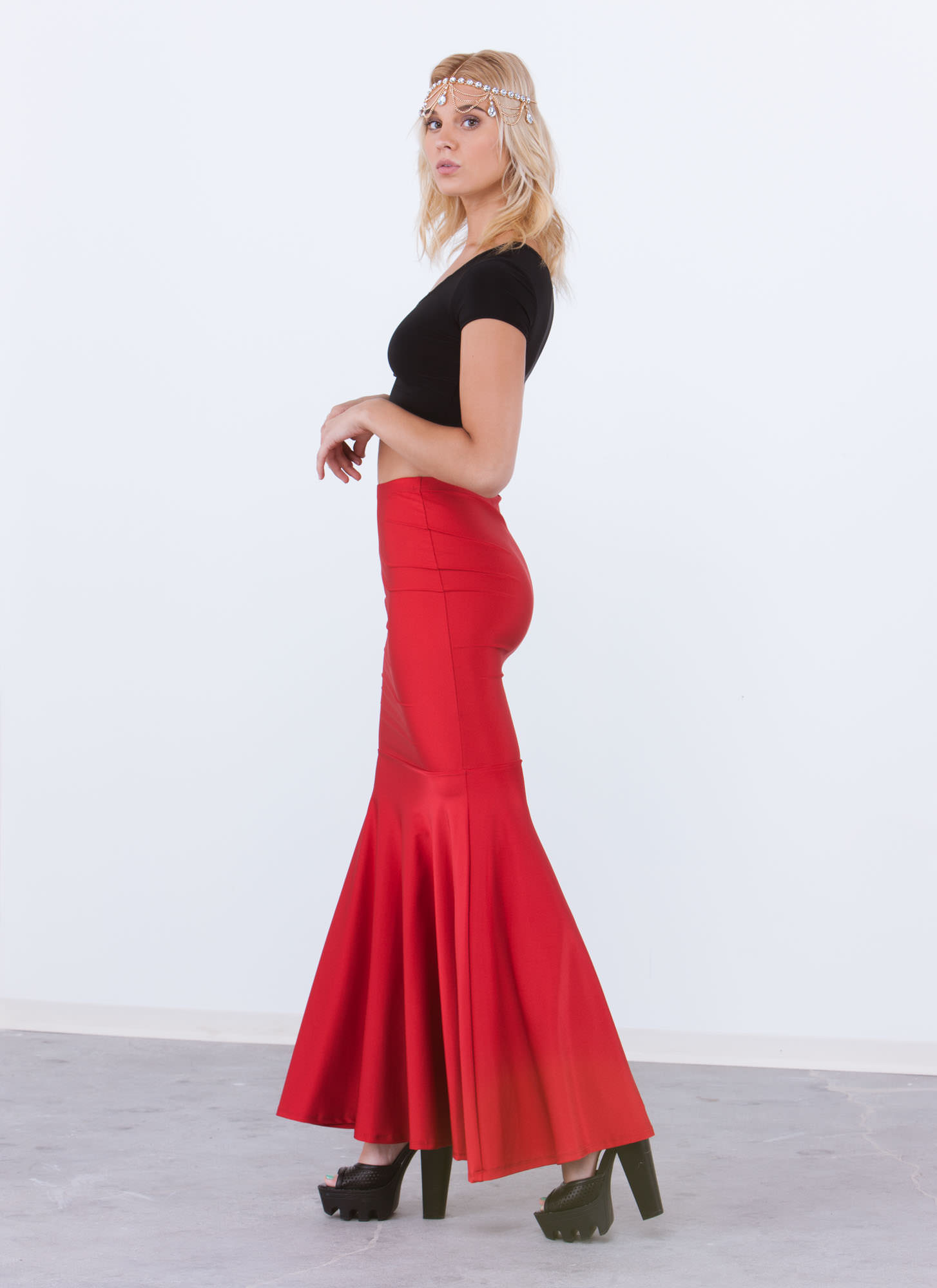 Mermaid For You Shiny Nylon Maxi Skirt RED