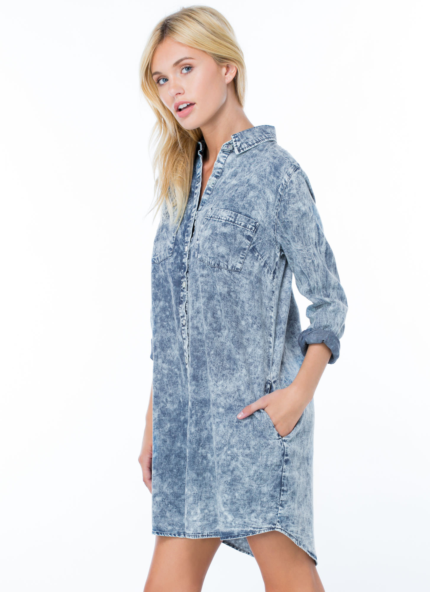 Only 4 U Acid Wash Shirt Dress BLUE
