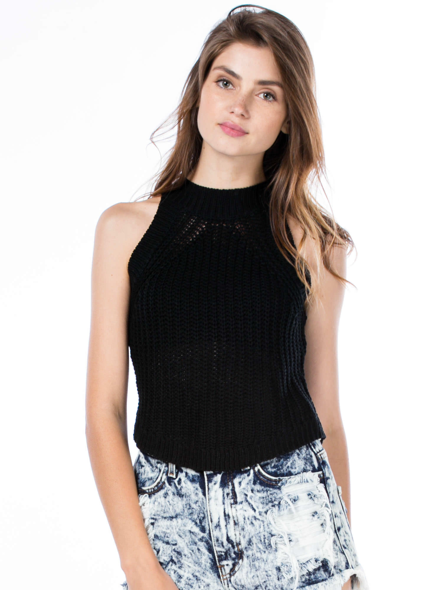 Cuddle Worthy Cable Knit Tank BLACK