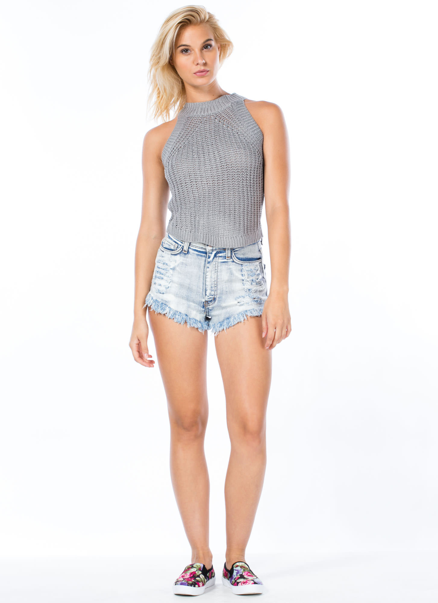 Cuddle Worthy Cable Knit Tank GREY