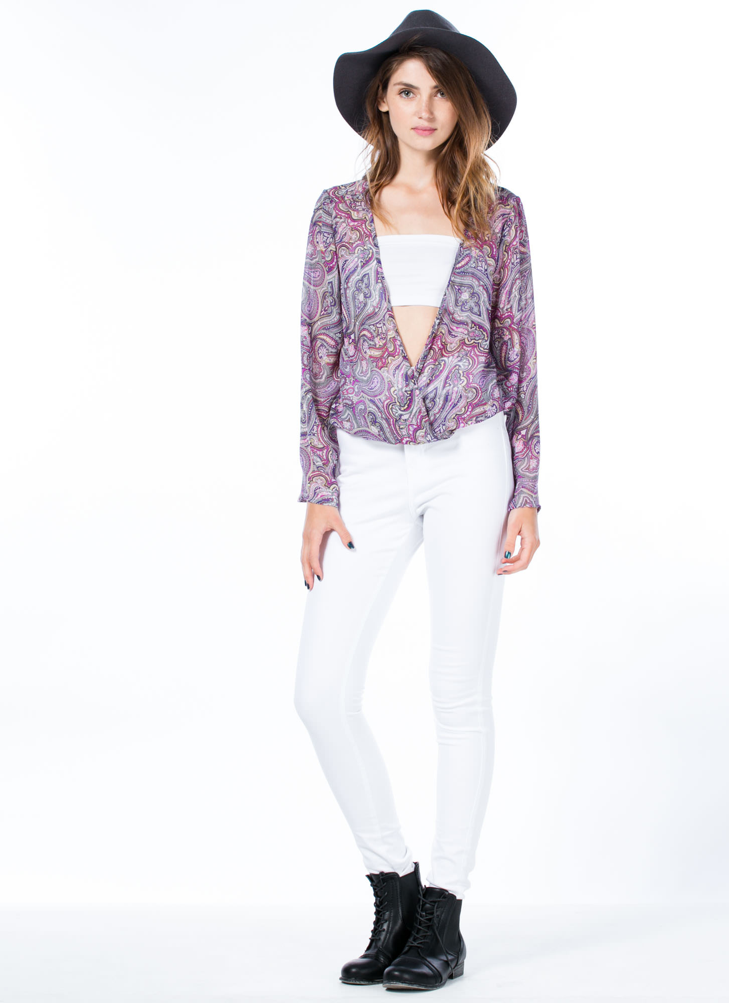 Hippie Chic Bell Sleeve Blouse PURPLE
