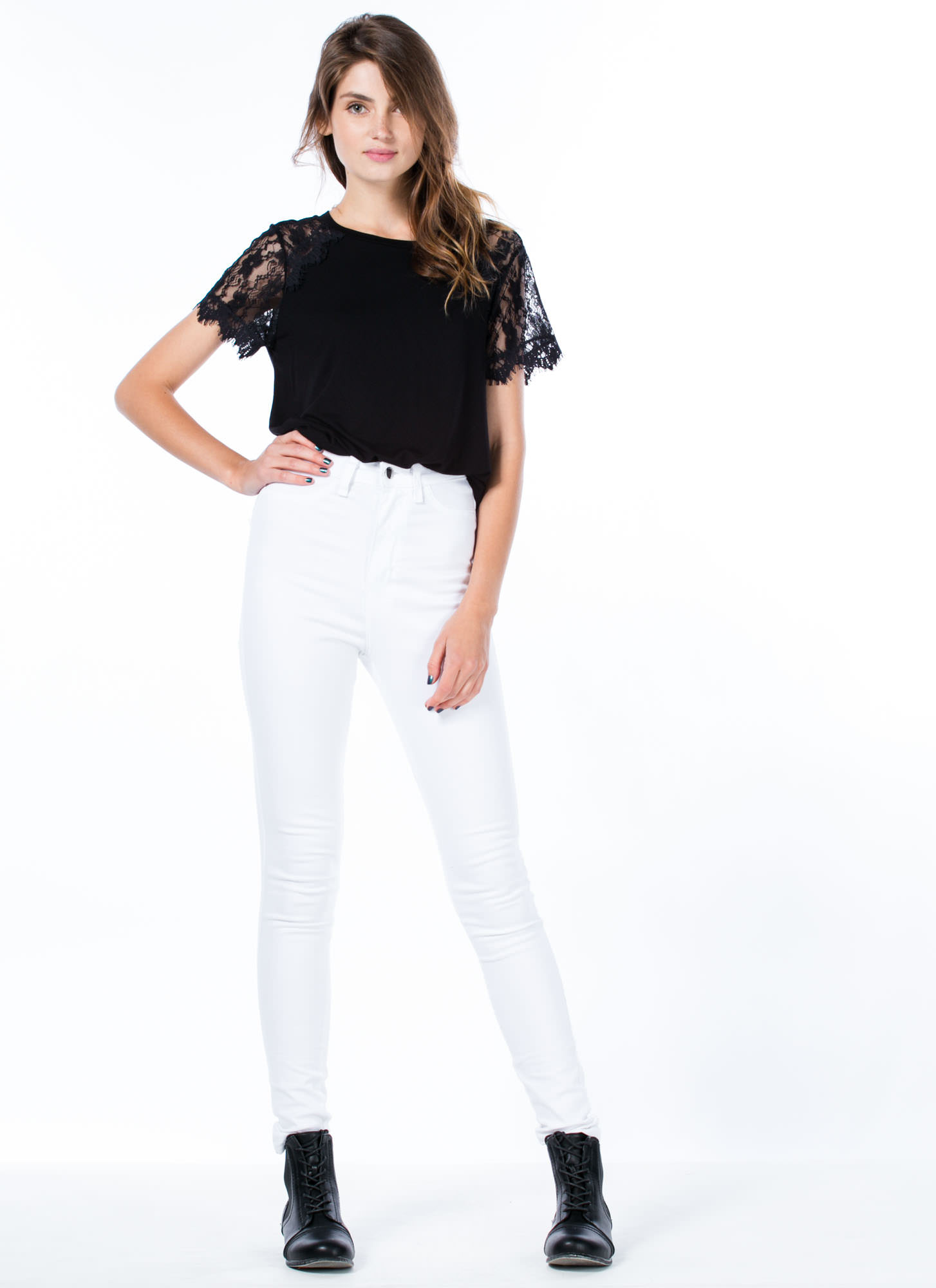 Not So Basic Drape Back Lace Sleeve Tee BLACK