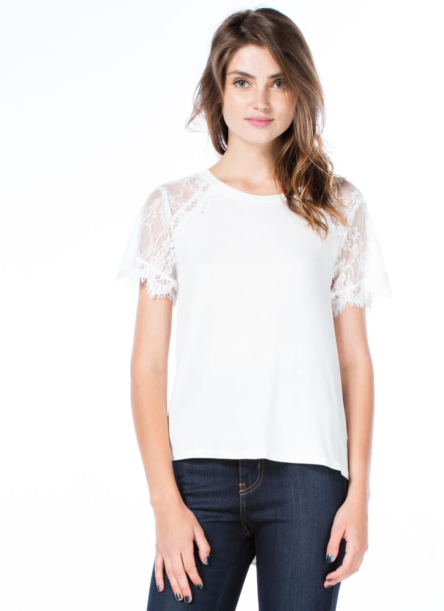 Not So Basic Drape Back Lace Sleeve Tee WHITE