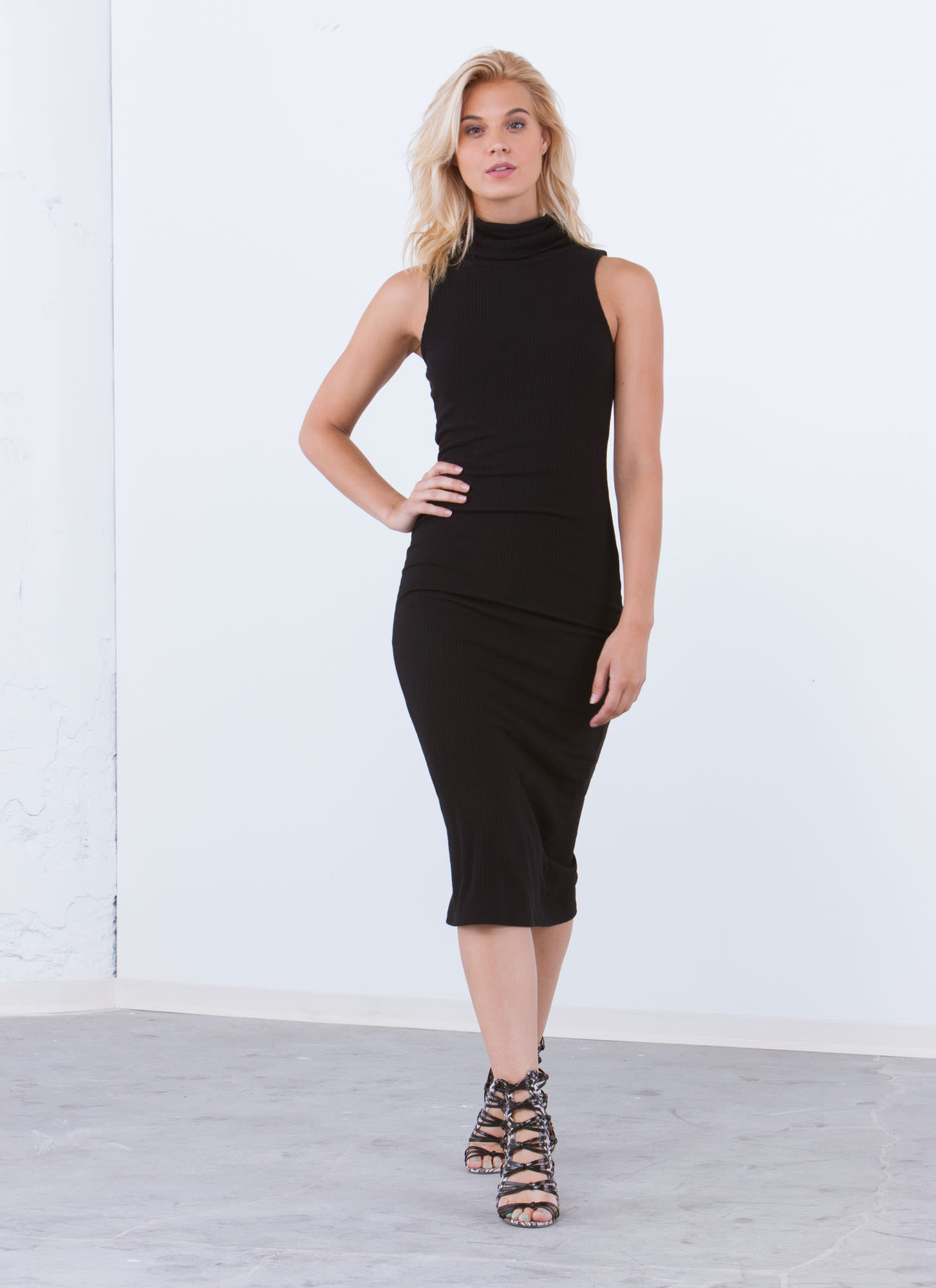 Sophisticated Turtleneck Bodycon Dress BLACK