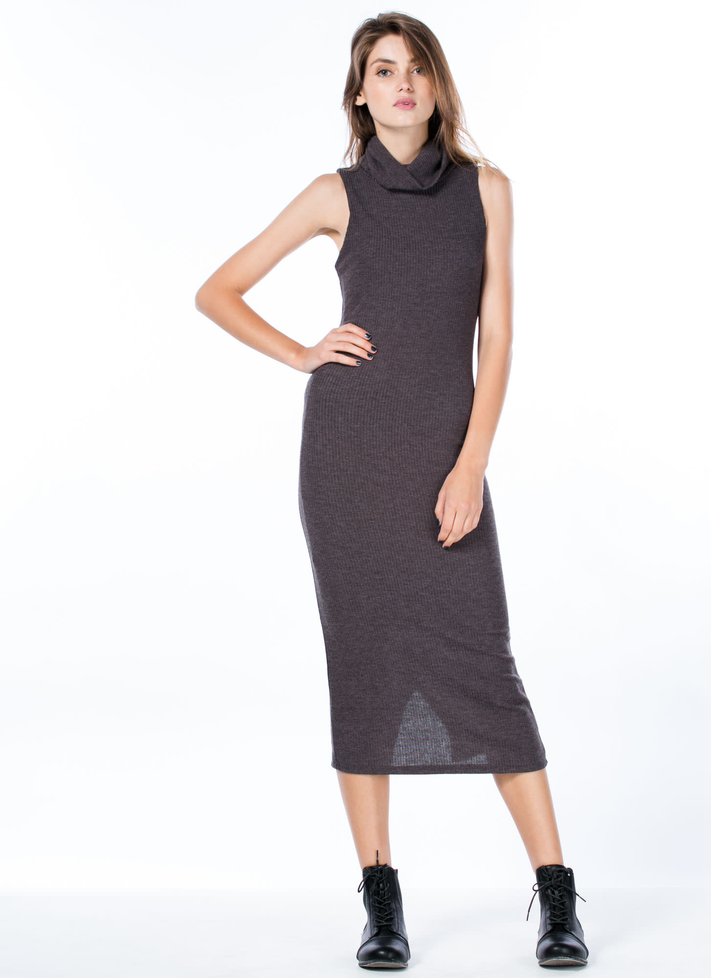 Sophisticated Turtleneck Bodycon Dress CHARCOAL
