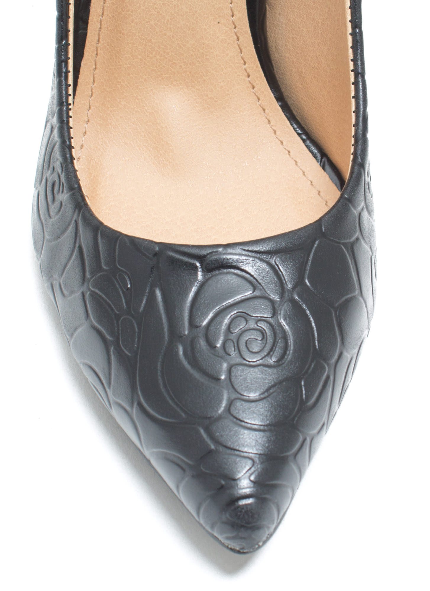Rose Garden Embossed Heels BLACK