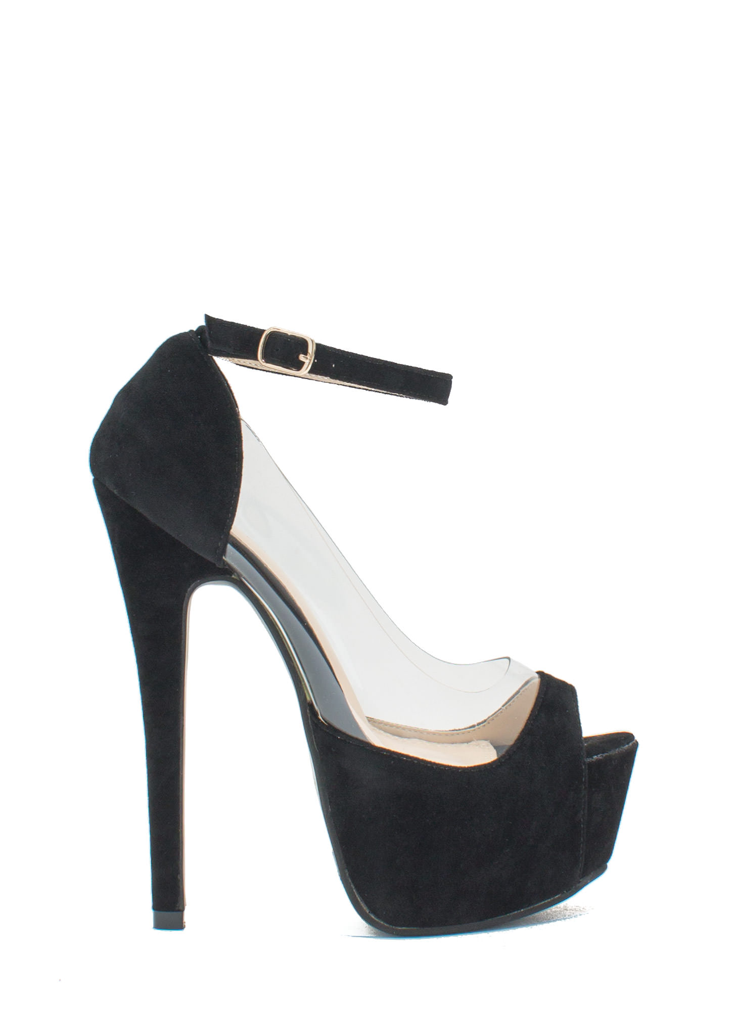 Power Move Velvet Platform Heels BLACK