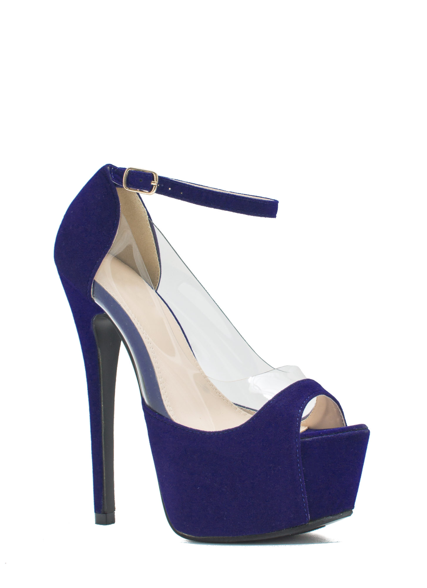 Power Move Velvet Platform Heels BLUE