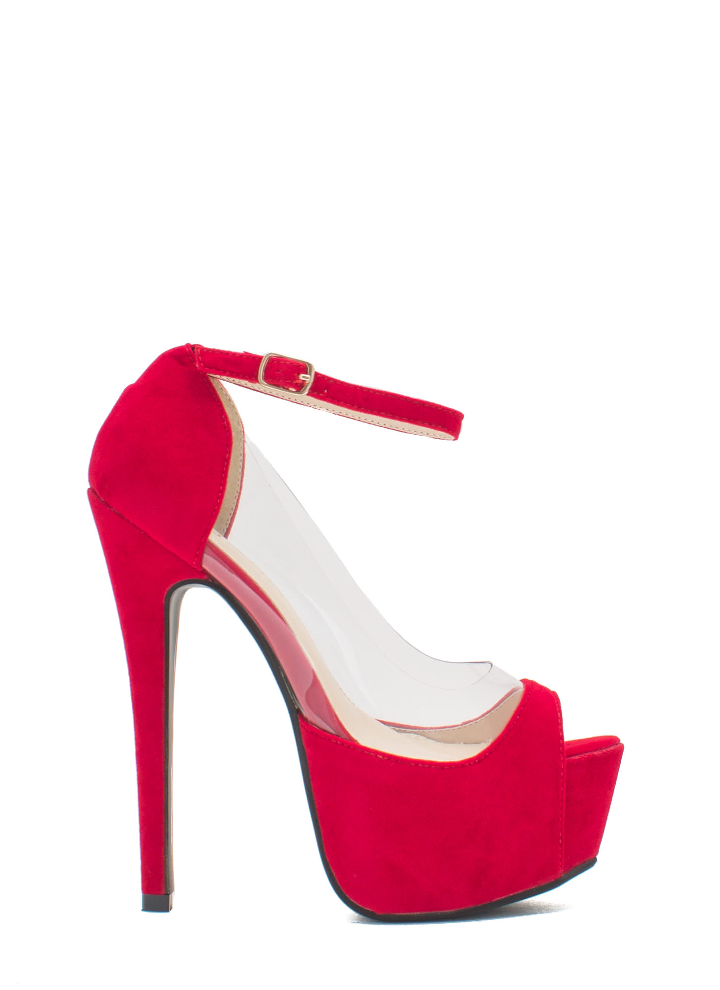 Power Move Velvet Platform Heels RED