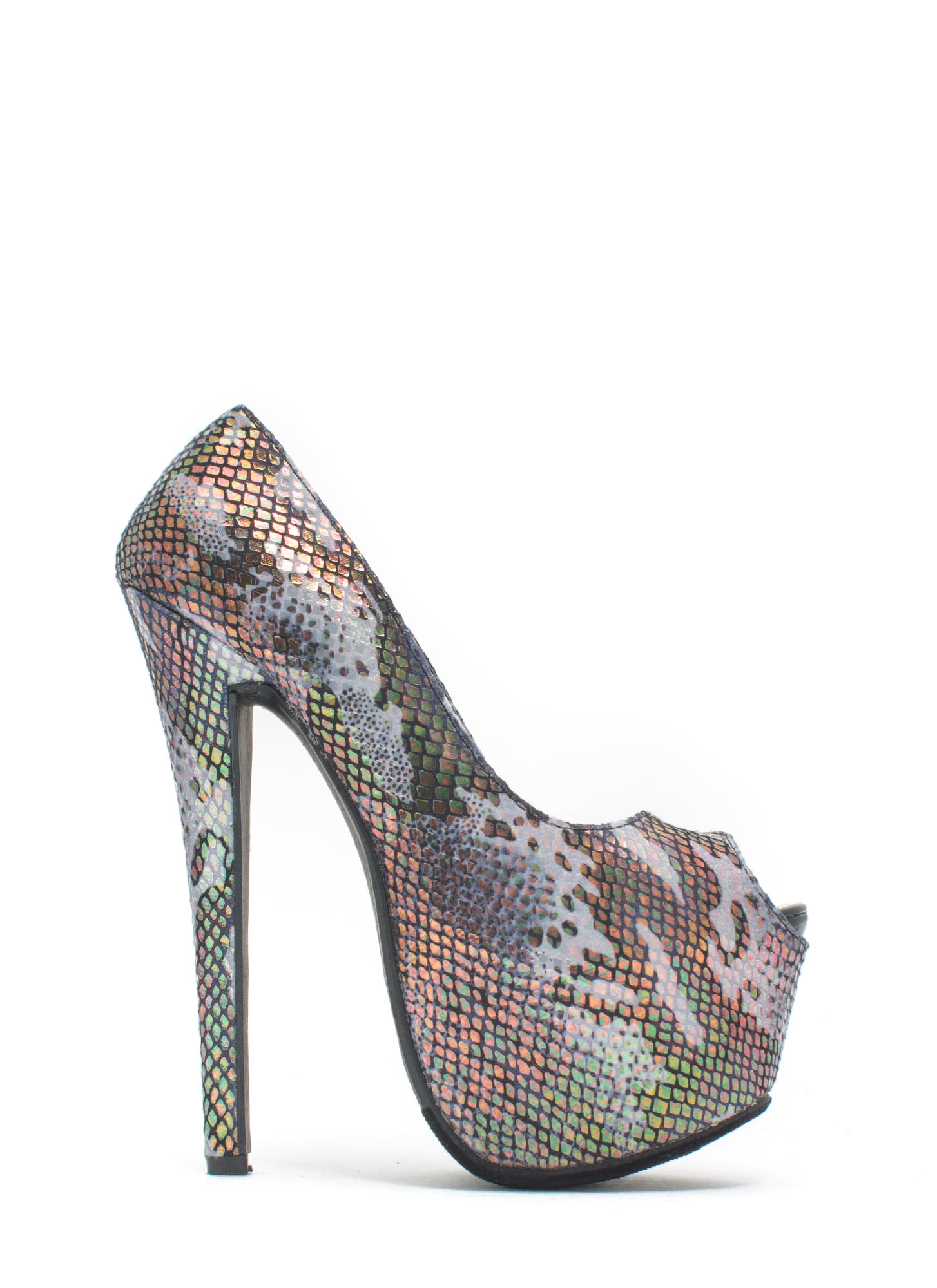 Scale Of A Time Iridescent Camo Heels BLACK