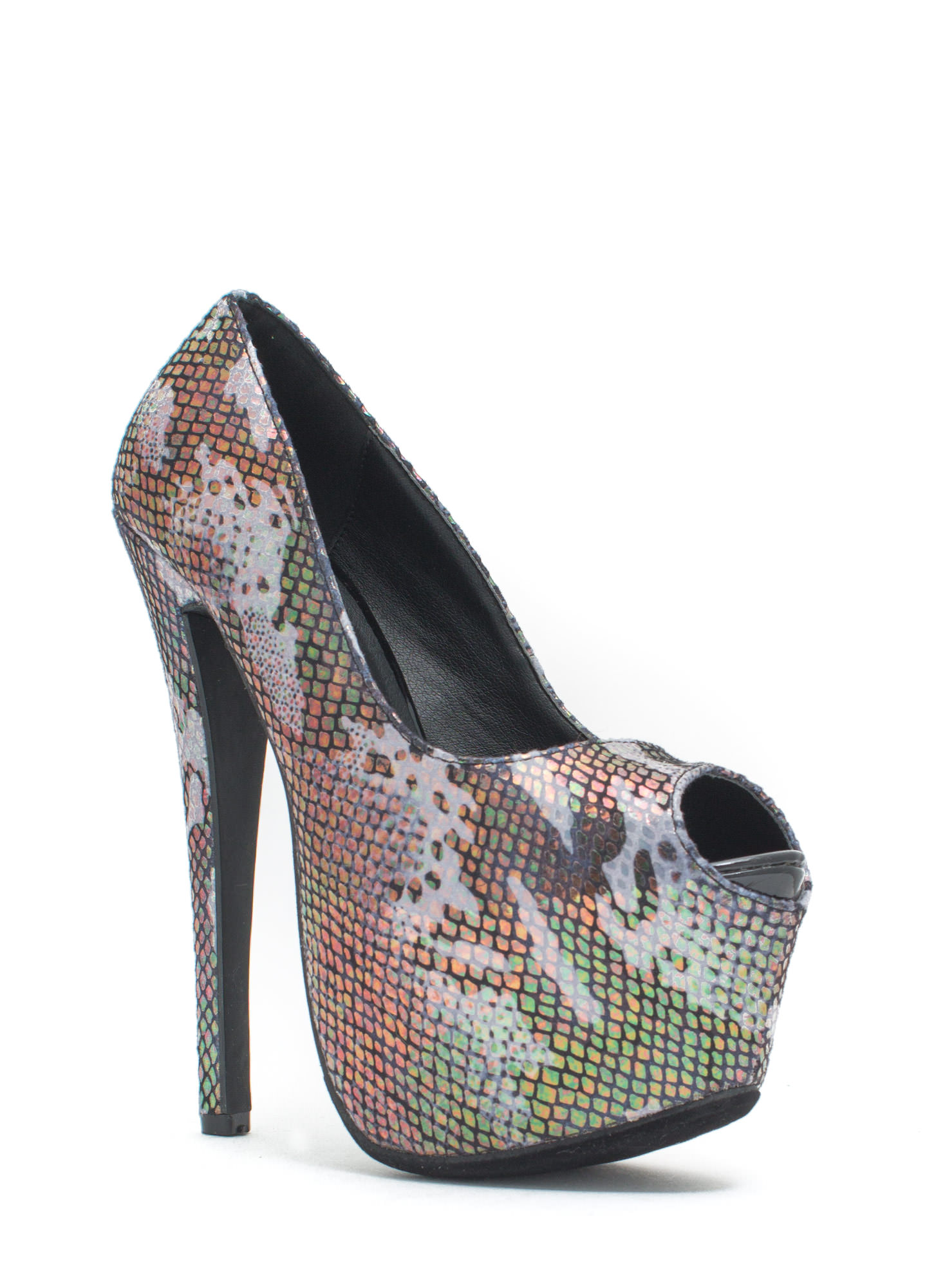 Scale Of A Time Iridescent Camo Heels BLACK (Final Sale)