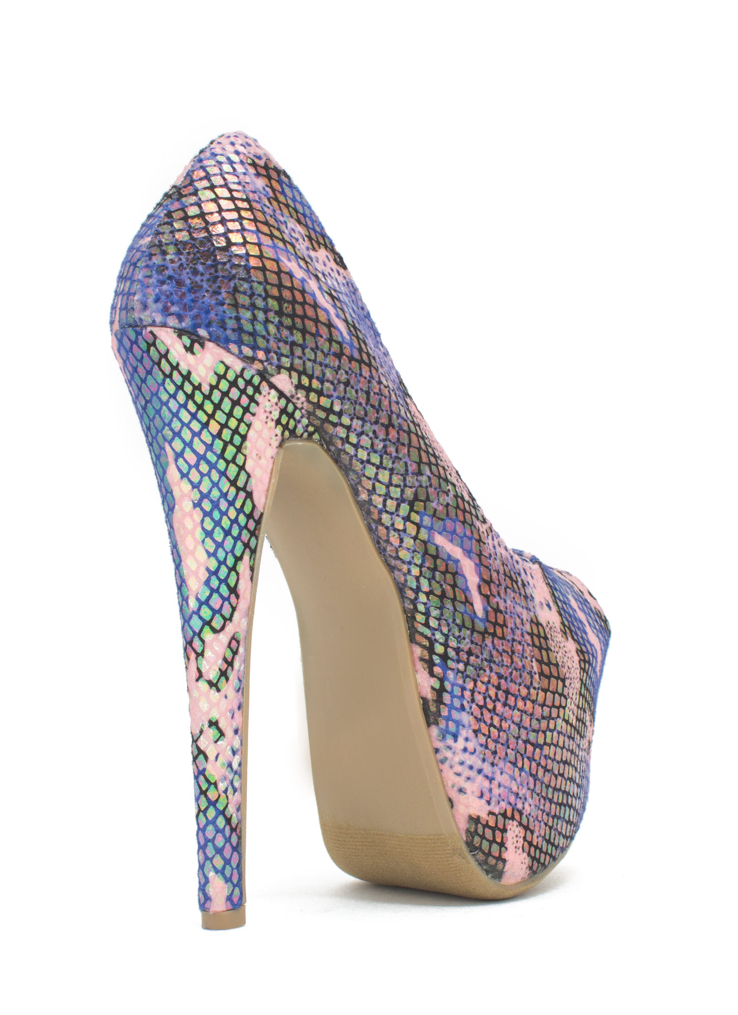 Scale Of A Time Iridescent Camo Heels PINK