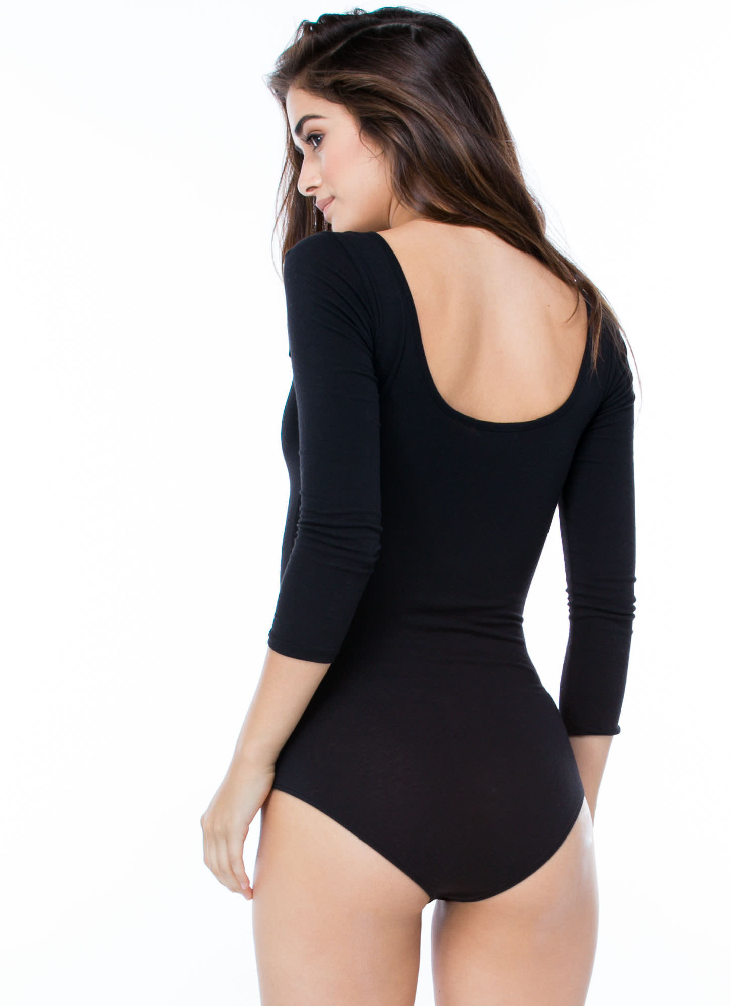 What's The Scoop Basic Solid Bodysuit BLACK