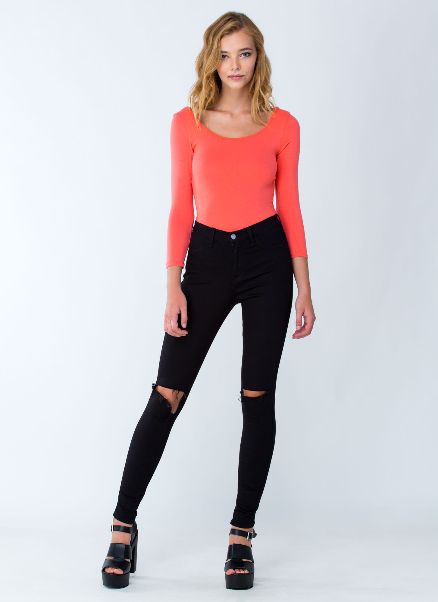 What's The Scoop Basic Solid Bodysuit CORAL