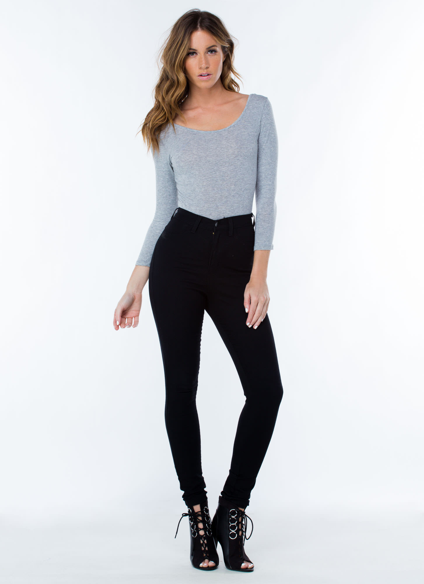 What's The Scoop Basic Solid Bodysuit HGREY