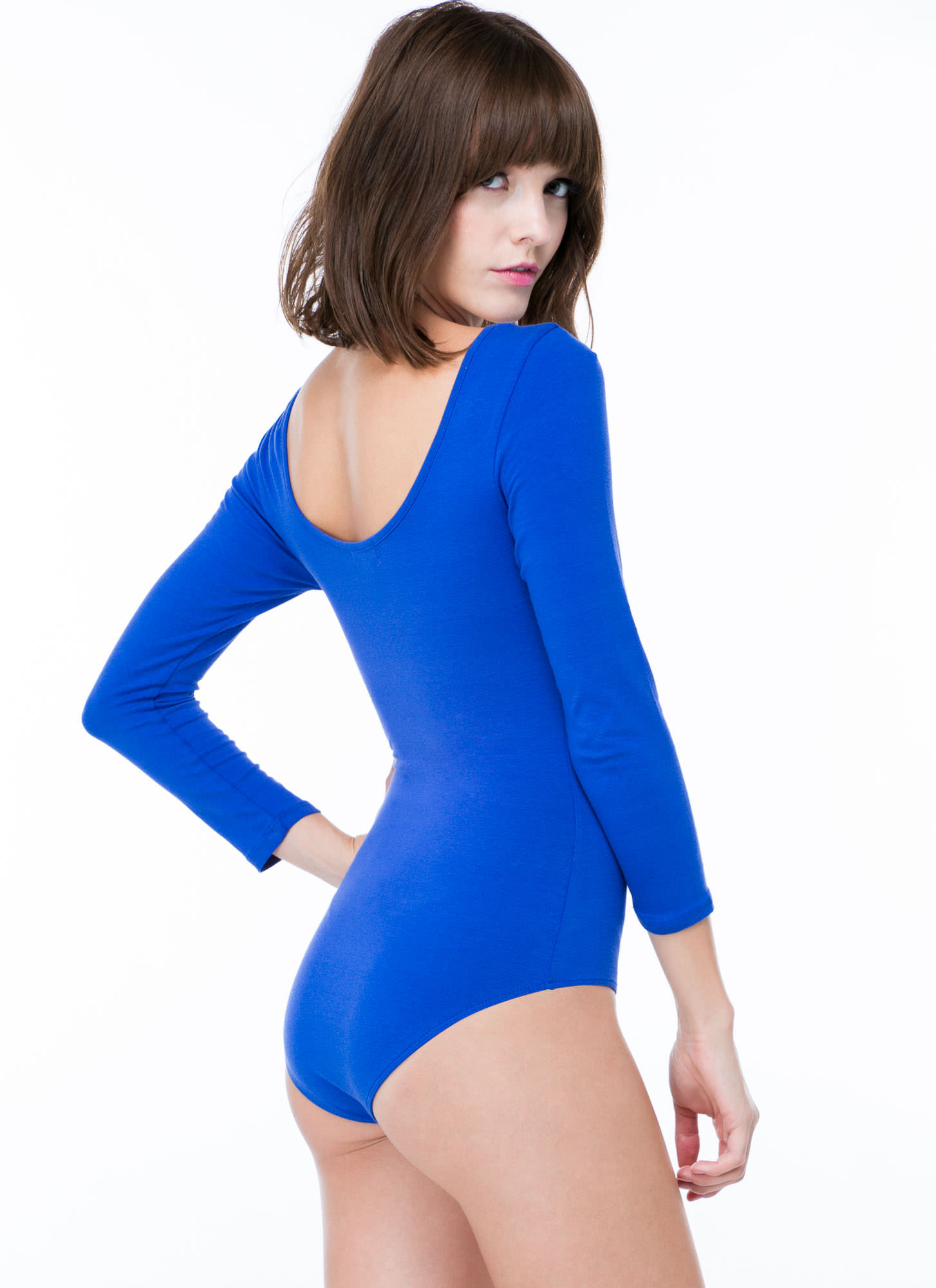 What's The Scoop Basic Solid Bodysuit ROYAL