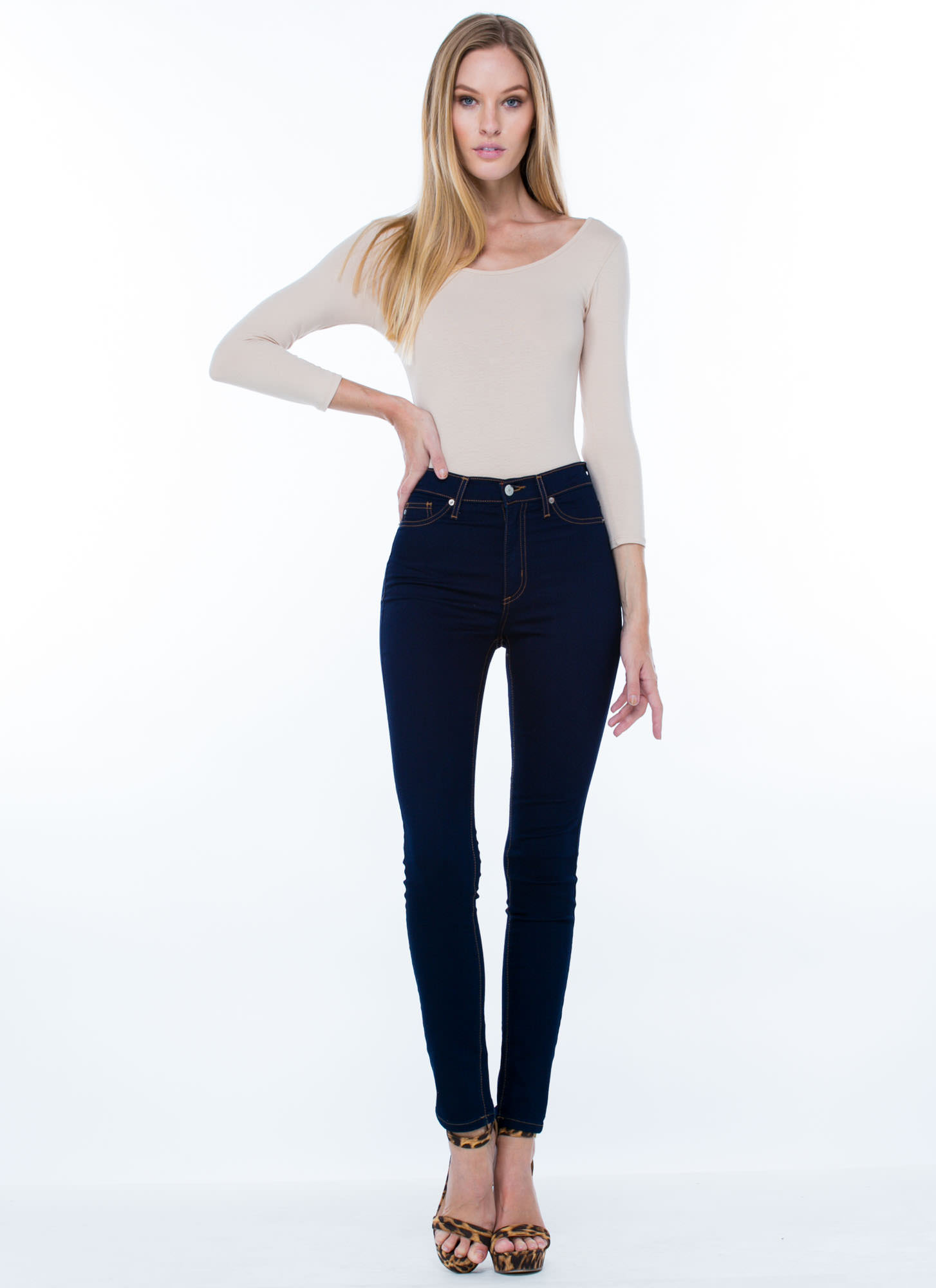What's The Scoop Basic Solid Bodysuit TAUPE