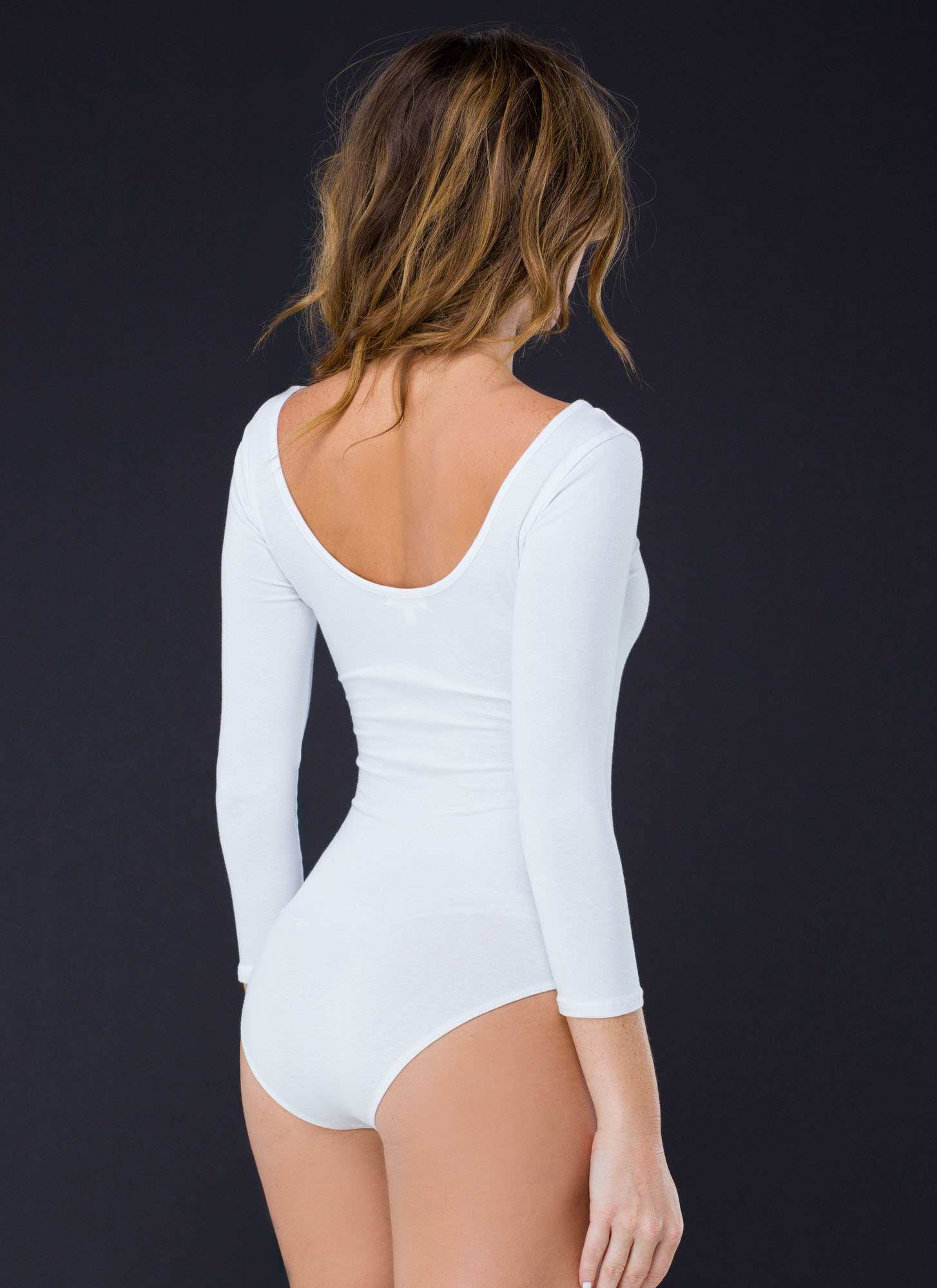 What's The Scoop Basic Solid Bodysuit WHITE