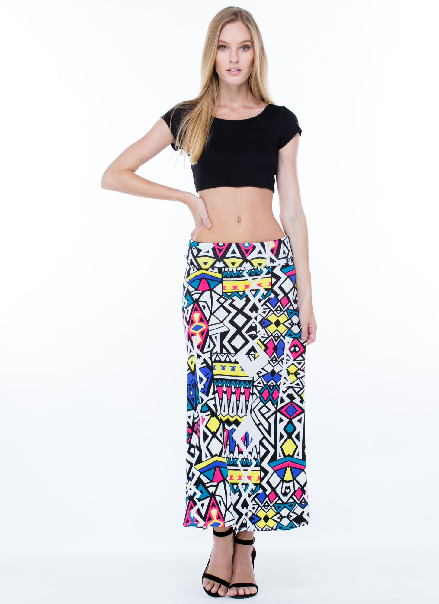 Print Party Ruched Waist Maxi Skirt WHITE