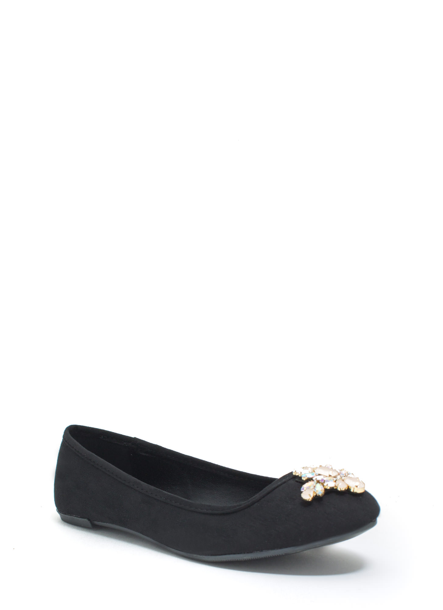 Life Of The Party Bejeweled Faux Suede Flats BLACK