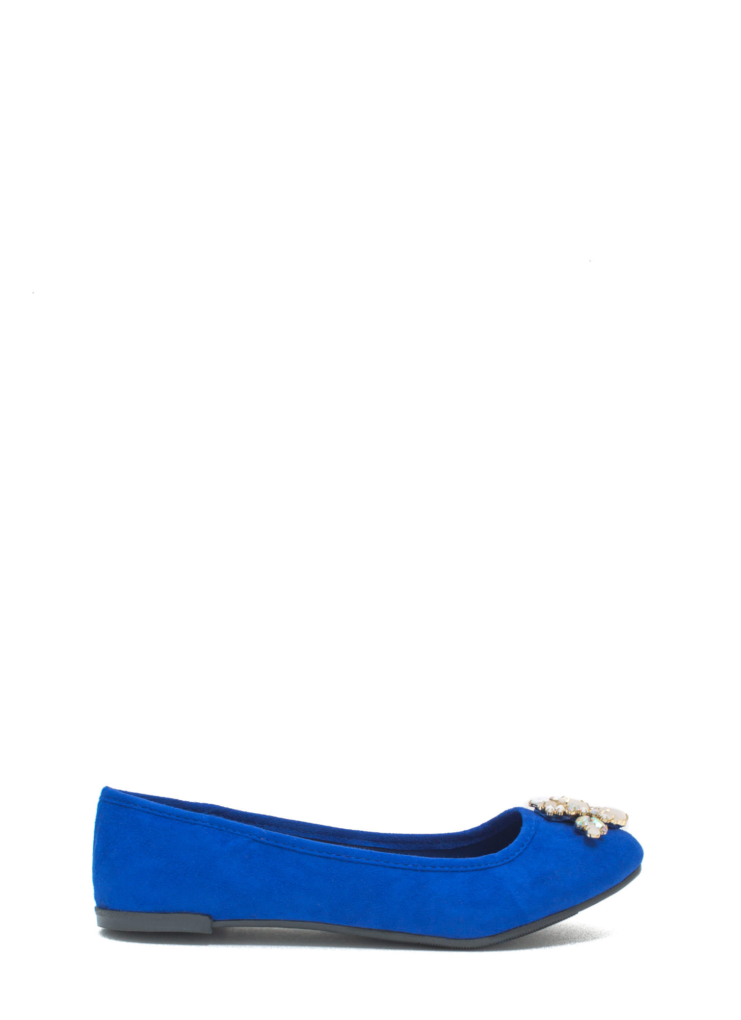 Life Of The Party Bejeweled Faux Suede Flats COBALT