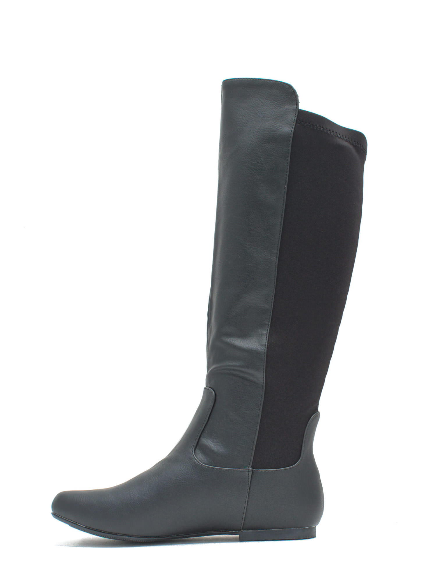 Around Town Faux Leather Riding Boots BLACK