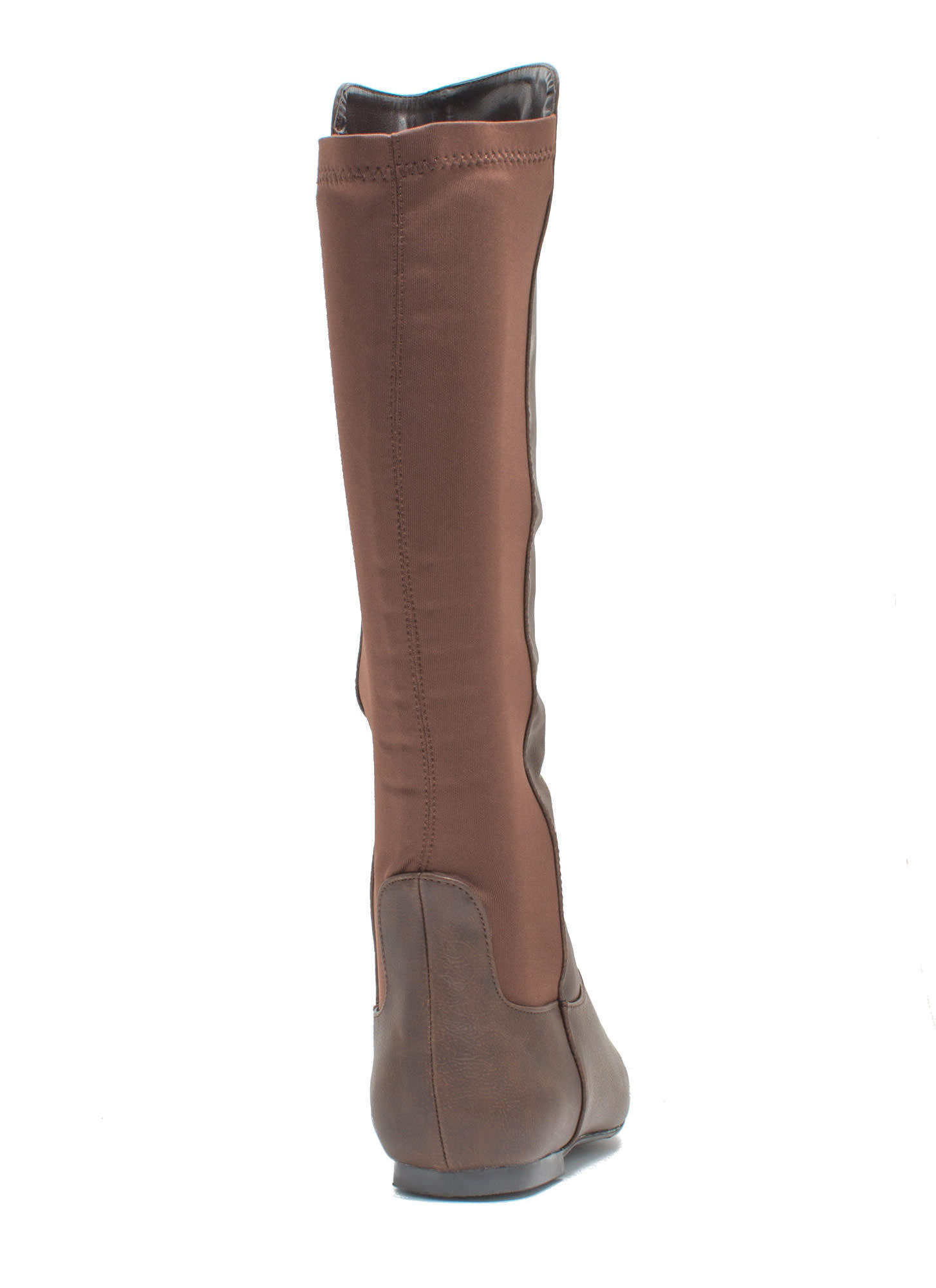 Around Town Faux Leather Riding Boots BROWN