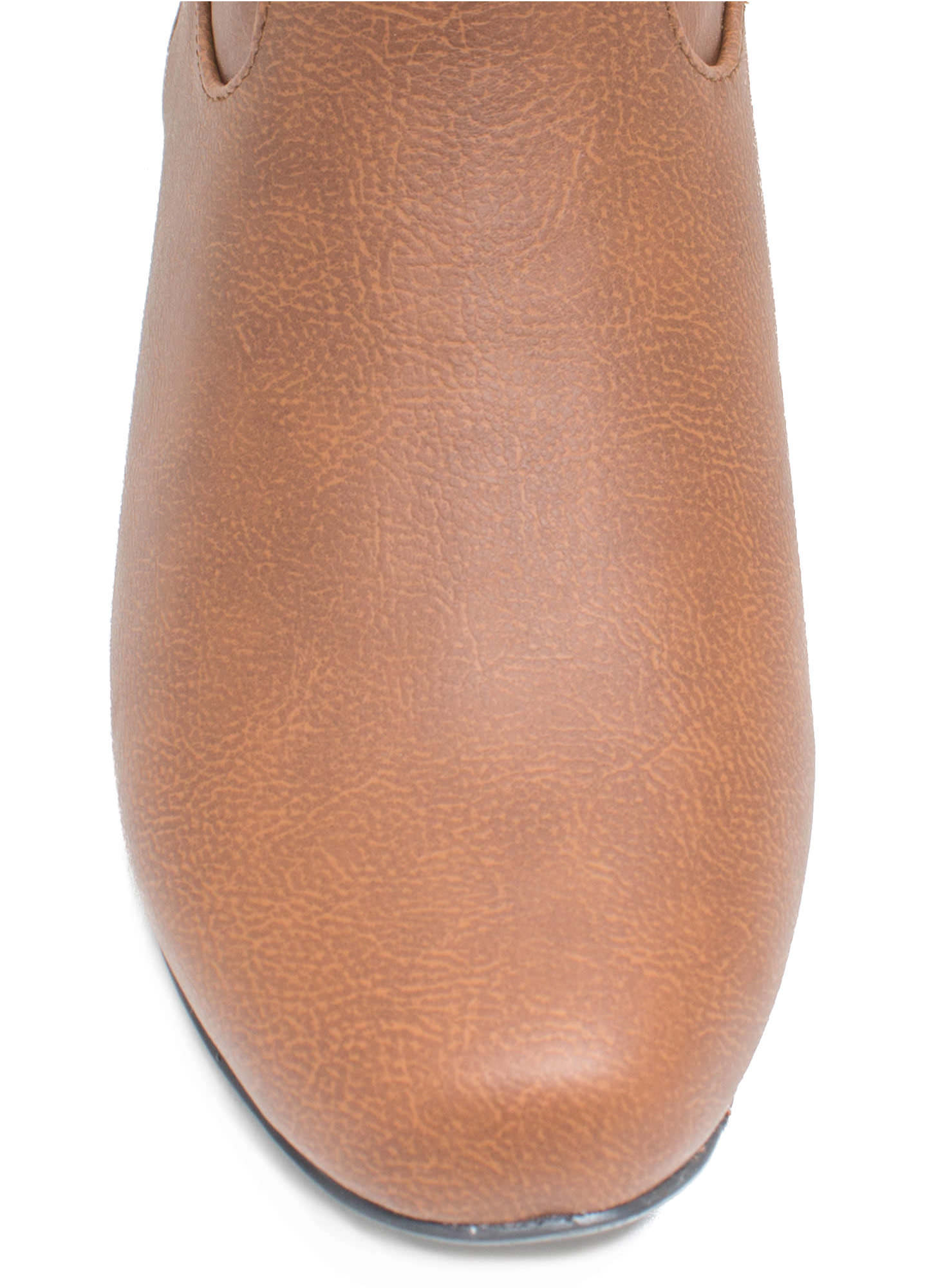 Around Town Faux Leather Riding Boots COGNAC