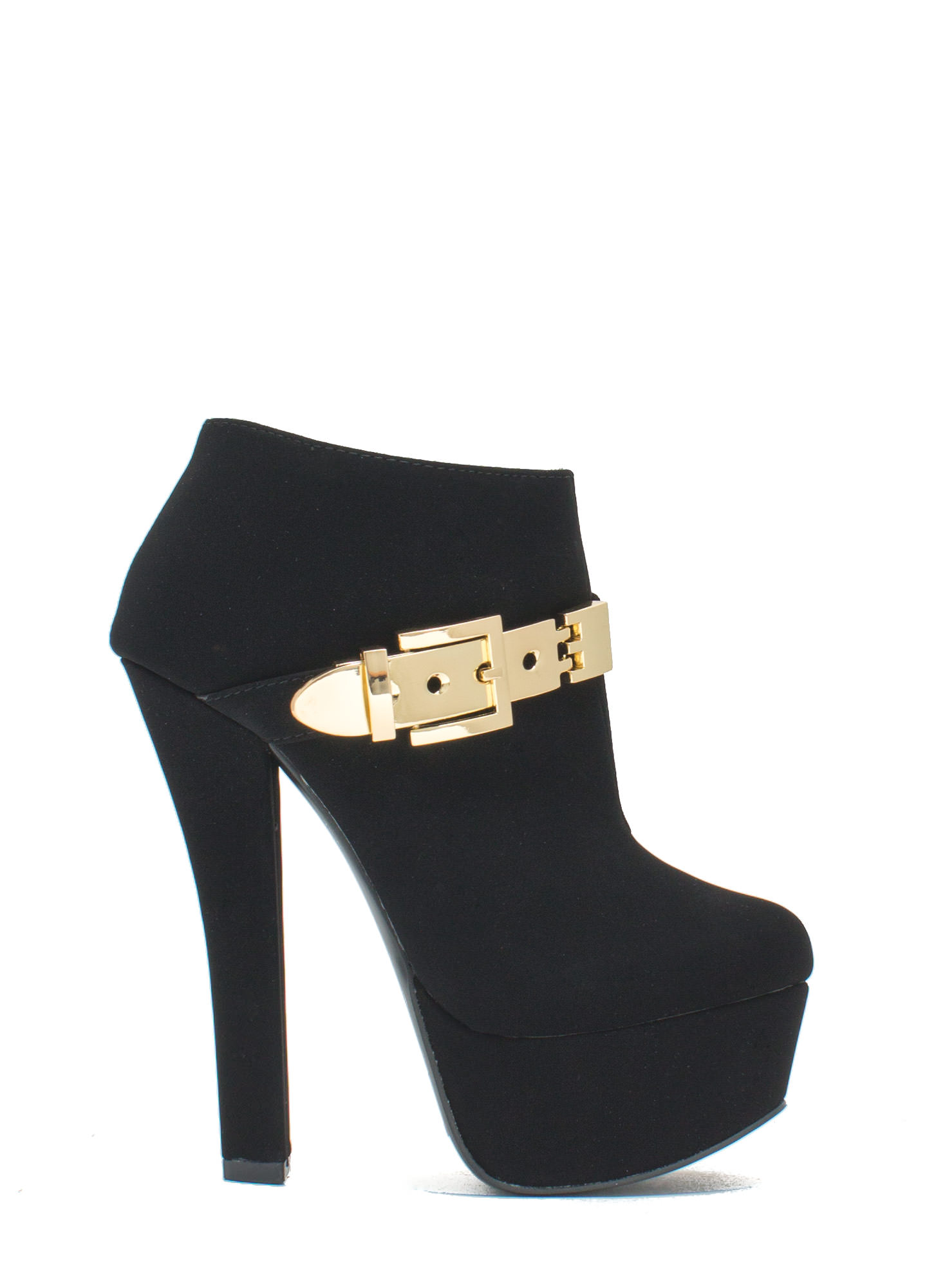 Queen Of Disco Metallic Buckle Booties BLACK