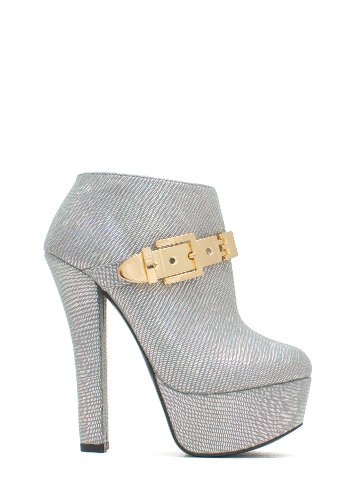 Queen Of Disco Metallic Buckle Booties SILVER