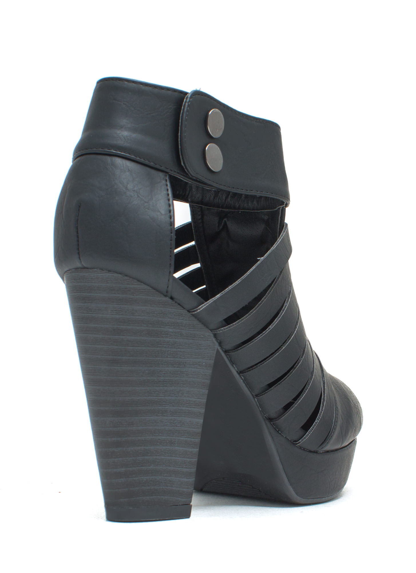 Mind The Straps Faux Leather Booties BLACK