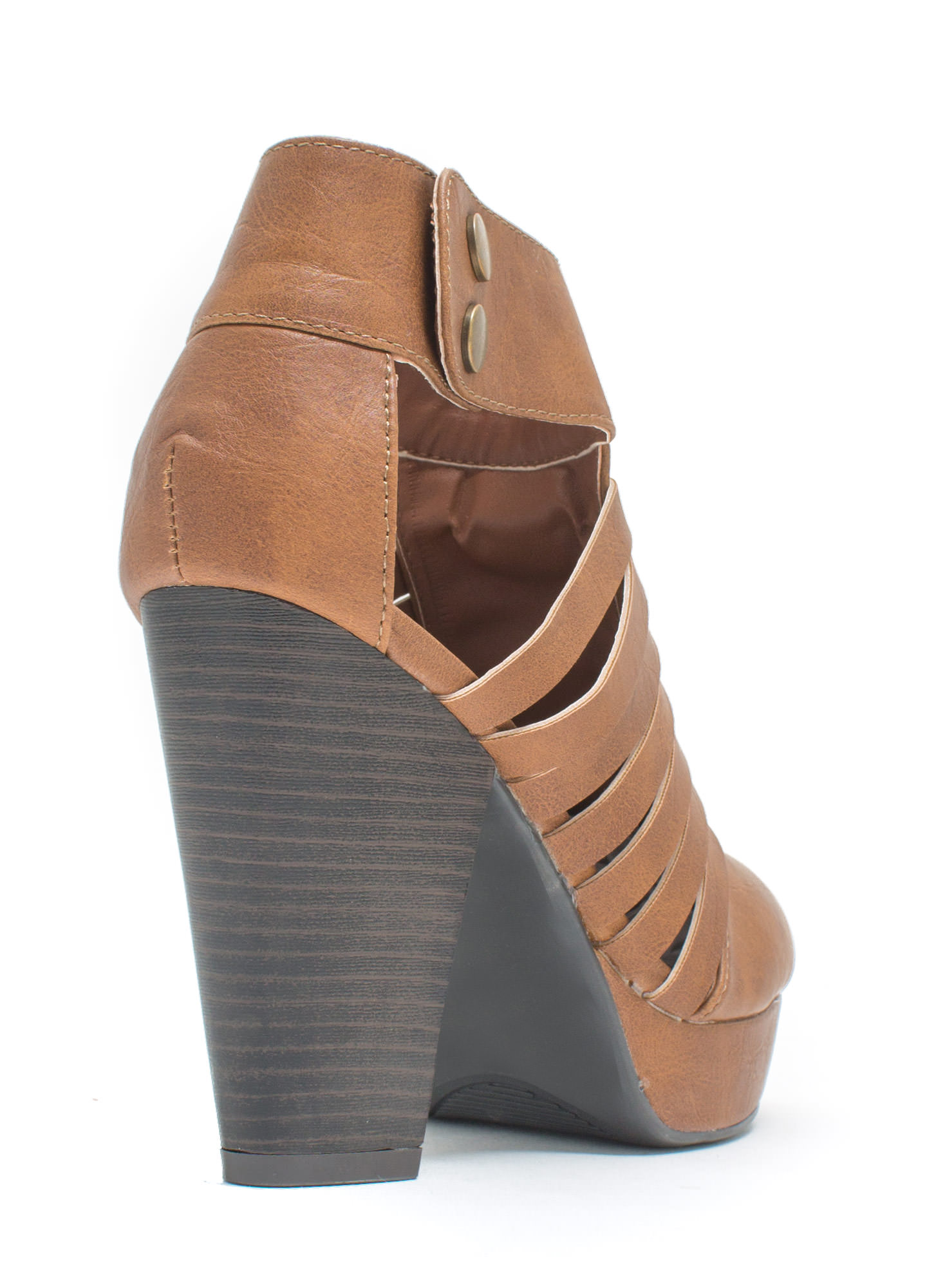 Mind The Straps Faux Leather Booties COGNAC