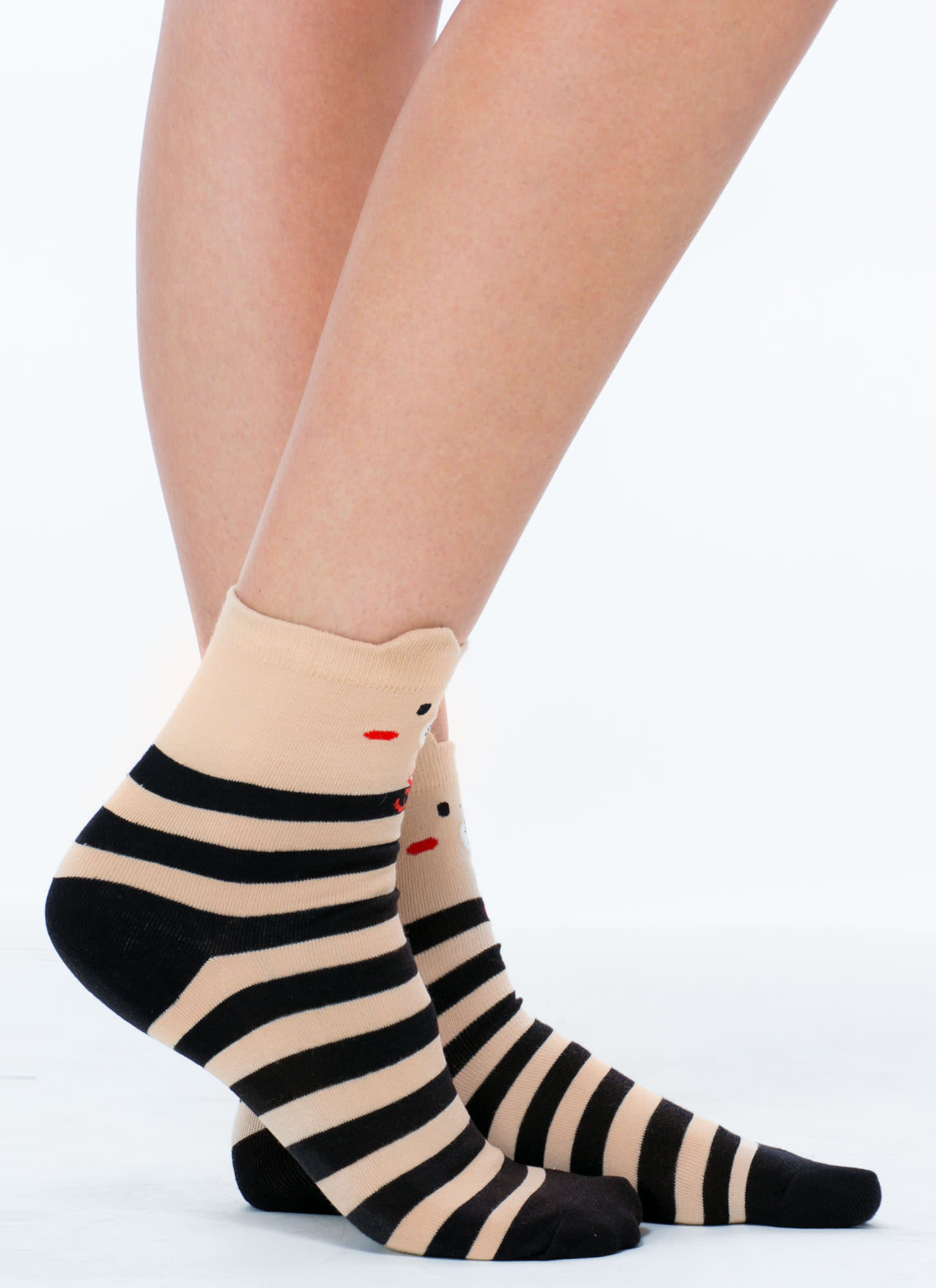 Sailing Bear Striped Ankle Socks BLACKMULTI