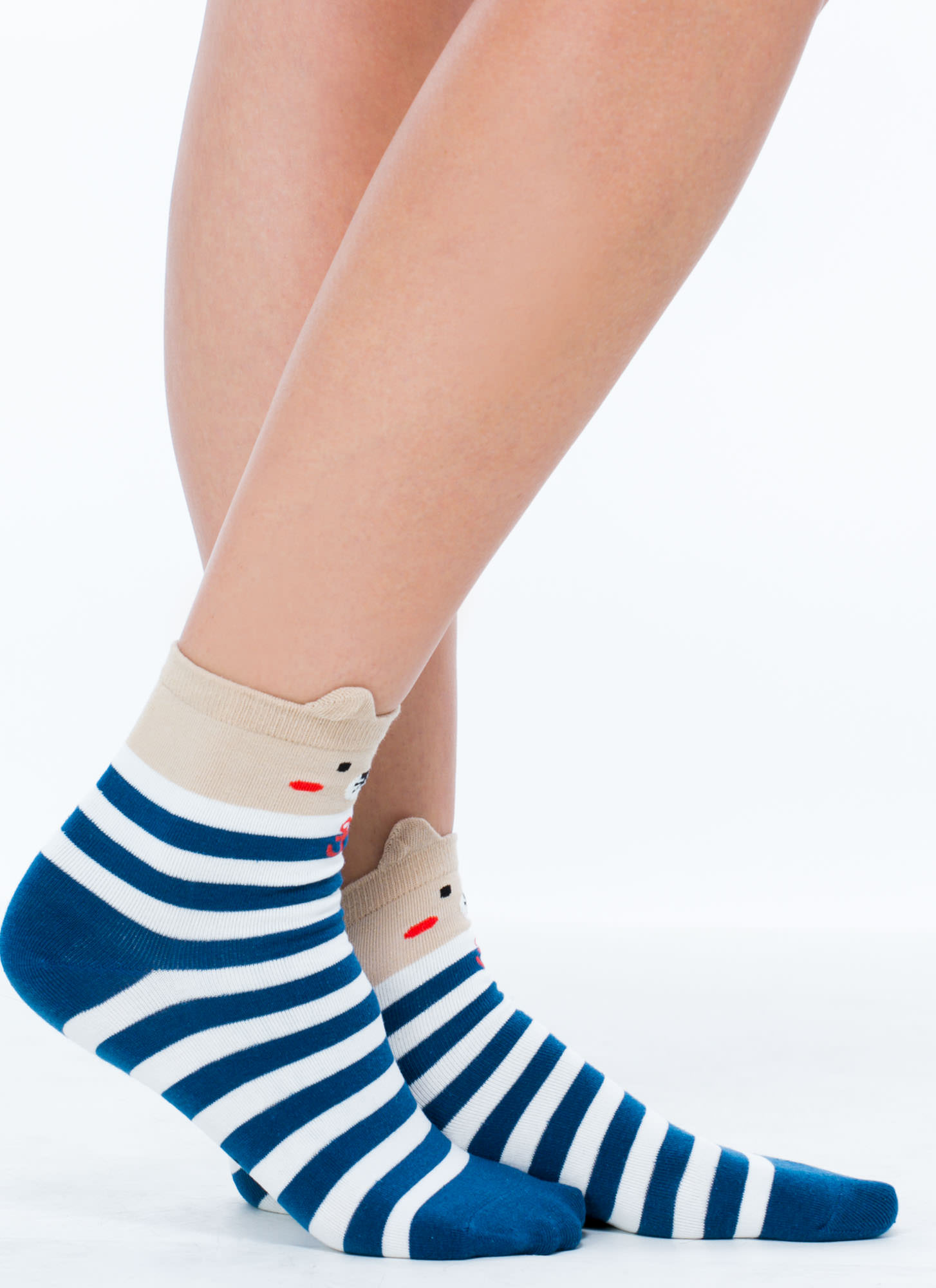 Sailing Bear Striped Ankle Socks BLUEMULTI