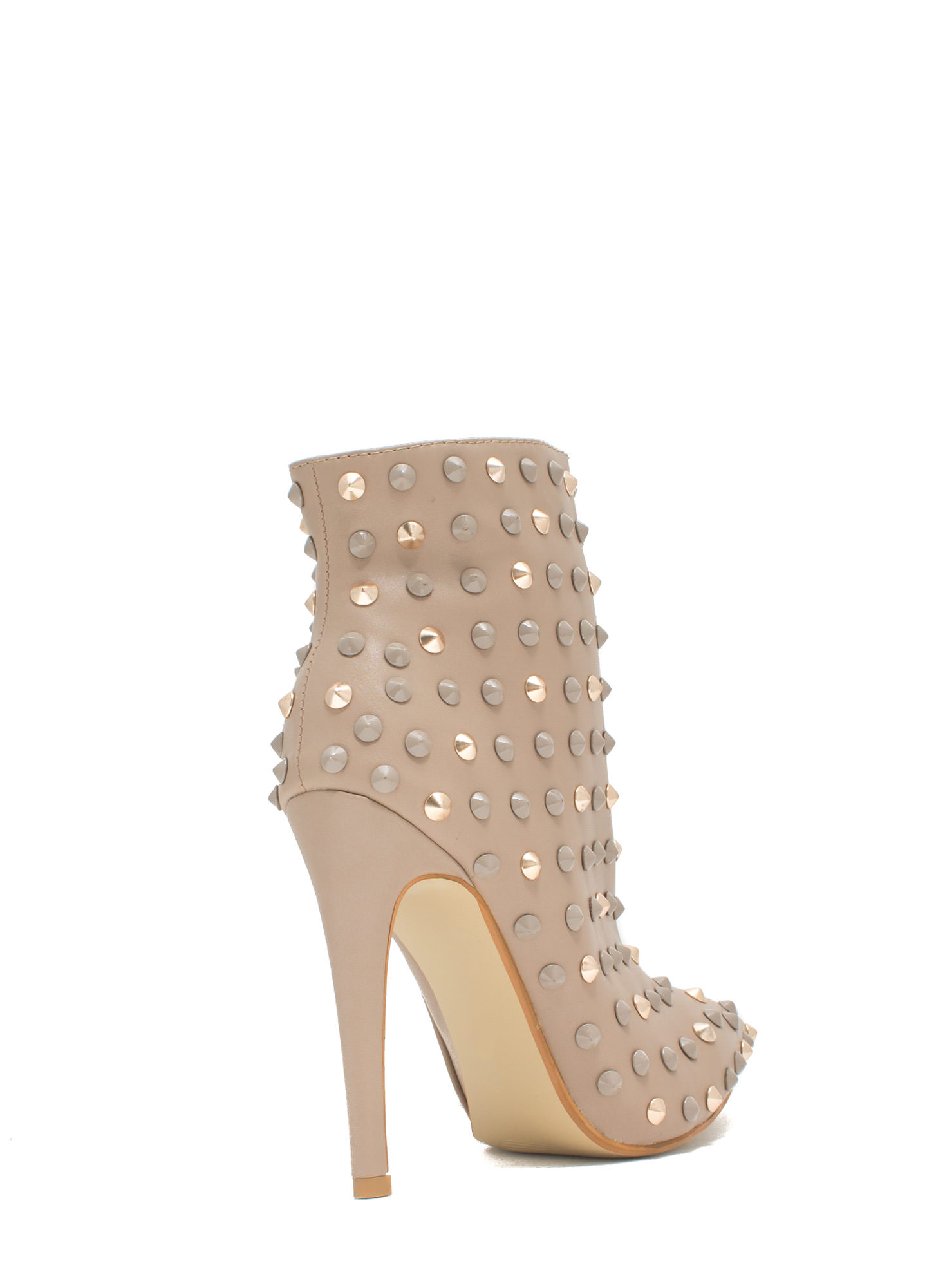 Studded Queen Pointy Booties TAUPE