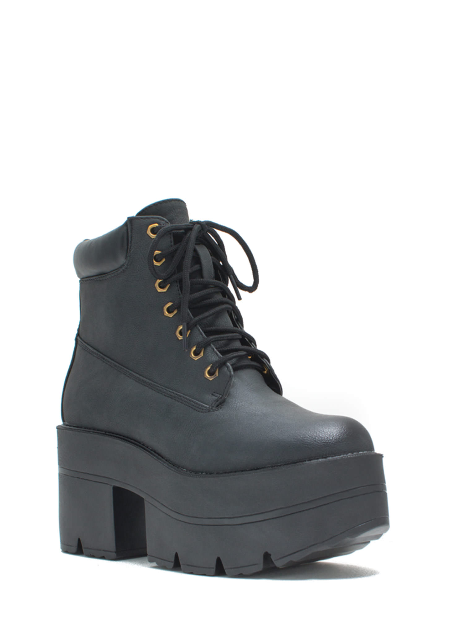 Take Over Lace-Up Platform Boots BLACK