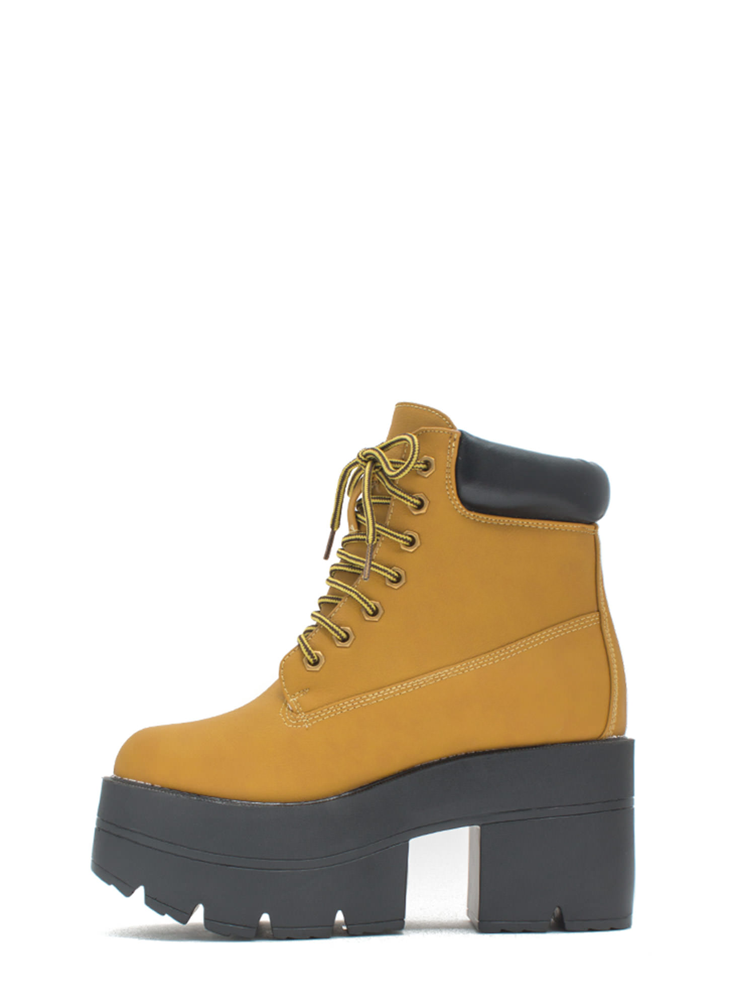 Take Over Lace-Up Platform Boots WHEAT