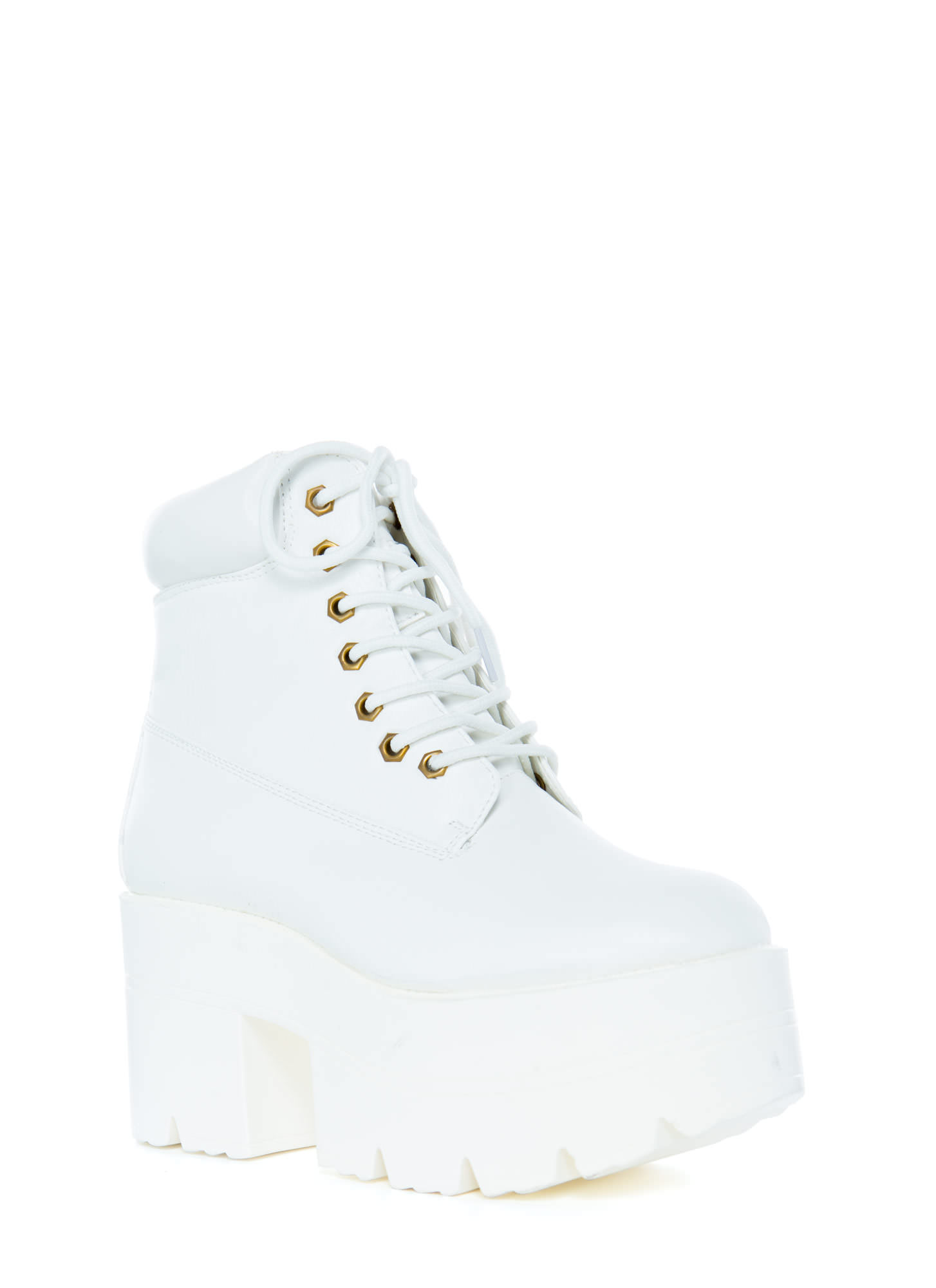 Take Over Lace-Up Platform Boots WHITE