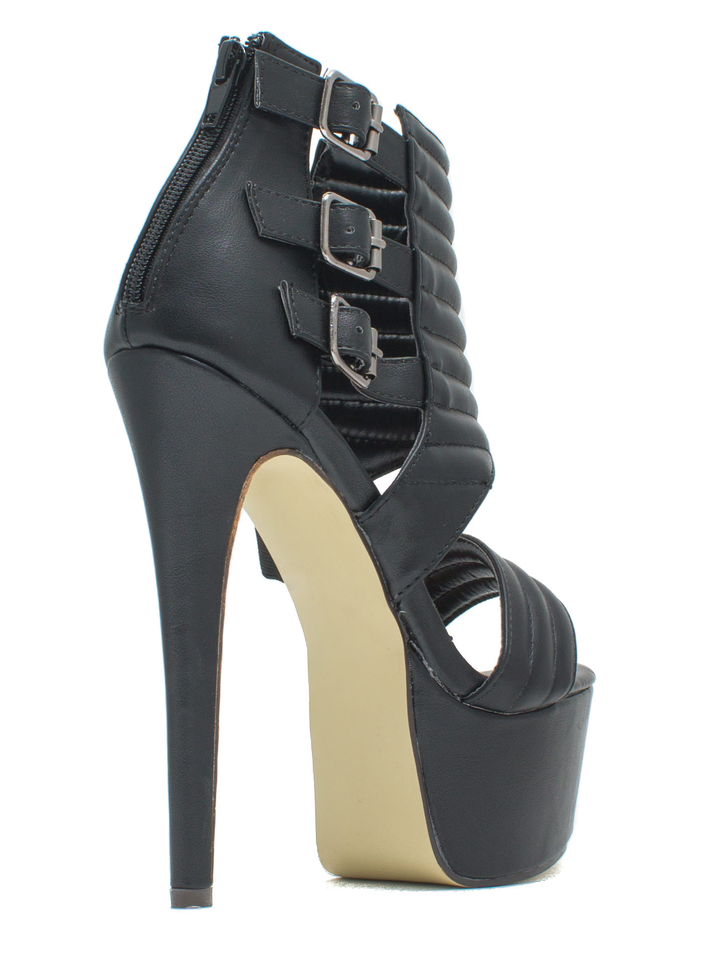 Feeling Quilty Cut-Out Platform Heels BLACK
