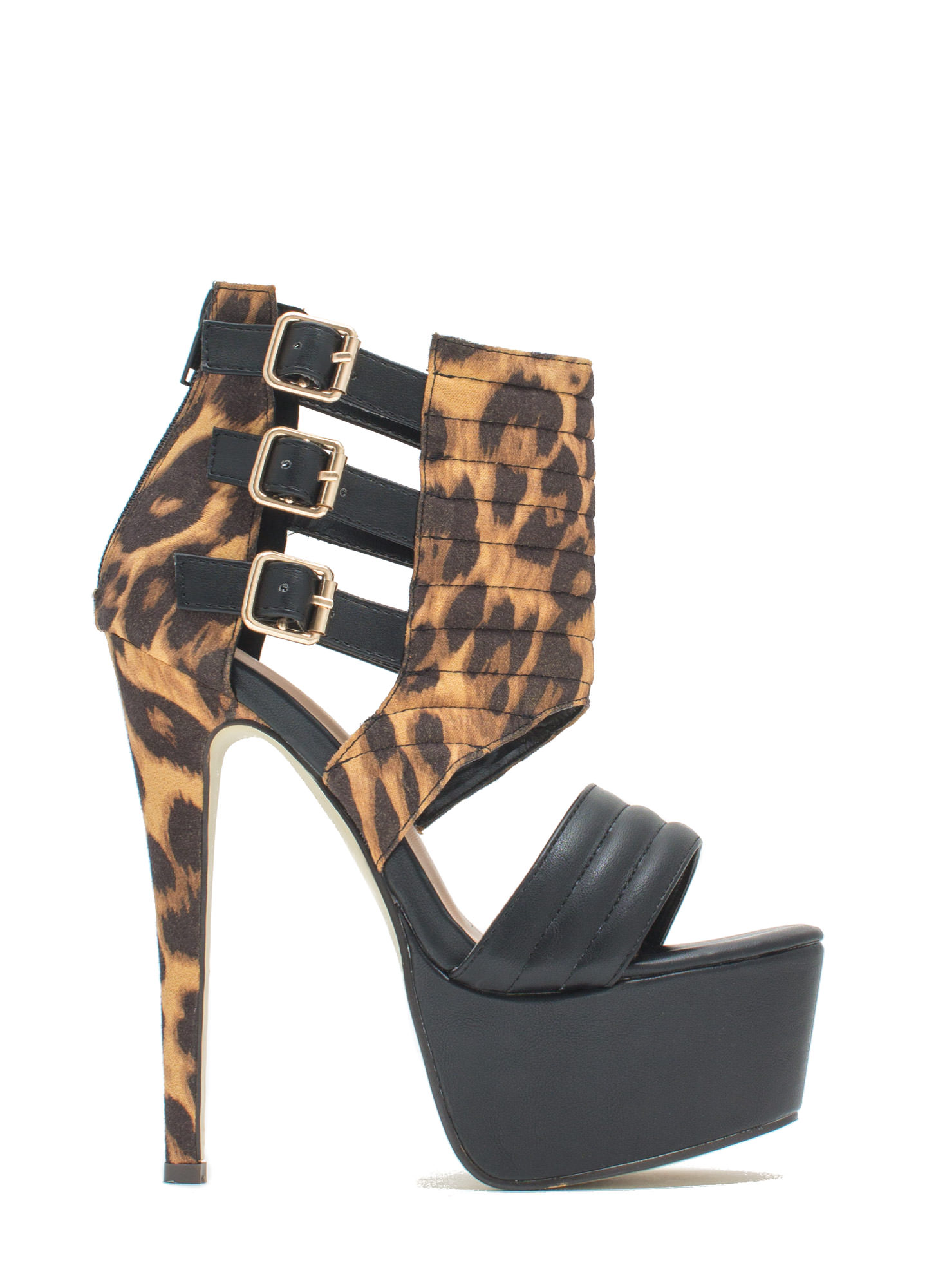 Feeling Quilty Cut-Out Platform Heels BLACKLEOPARD