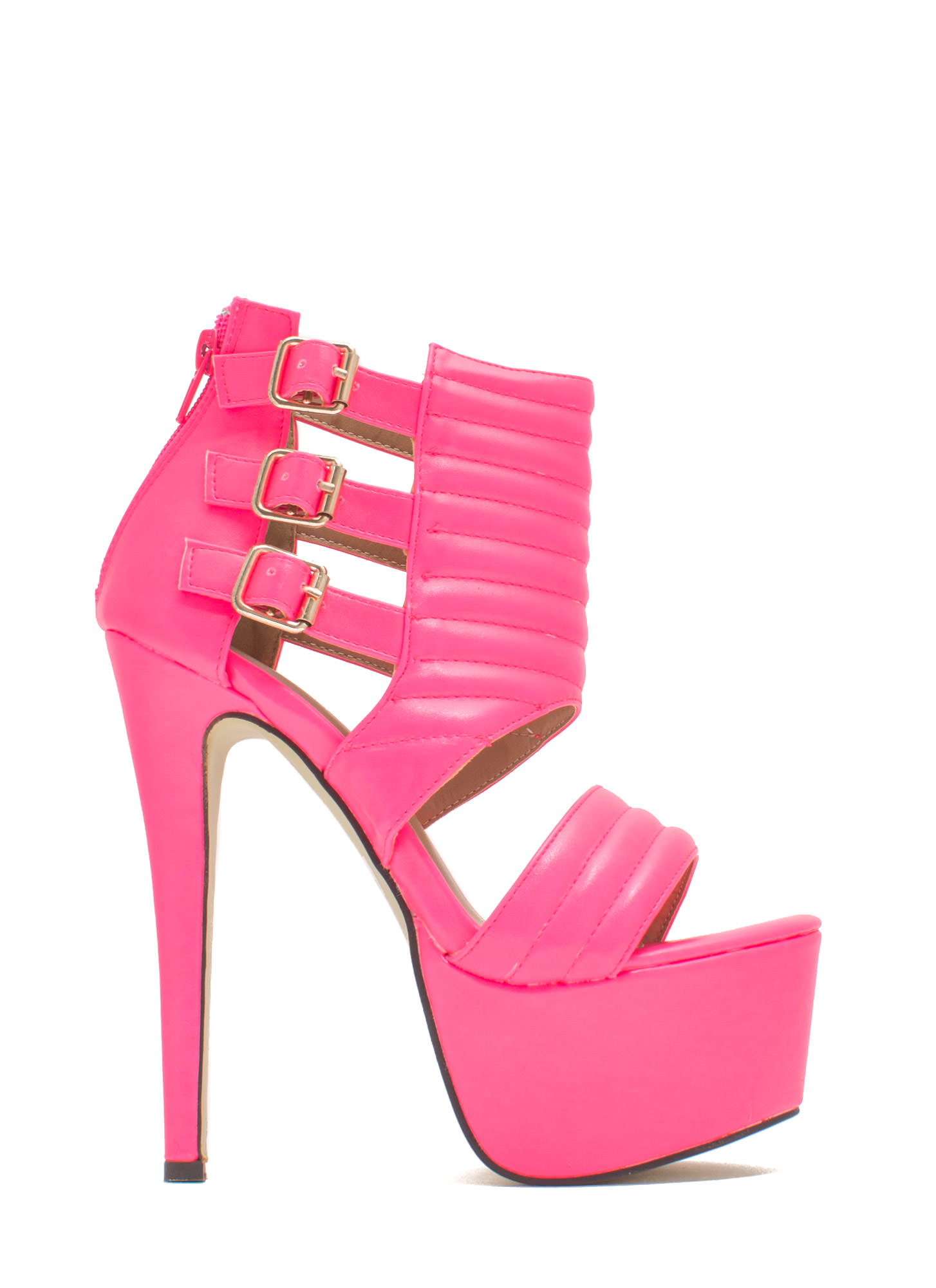 Feeling Quilty Cut-Out Platform Heels NEONPINK