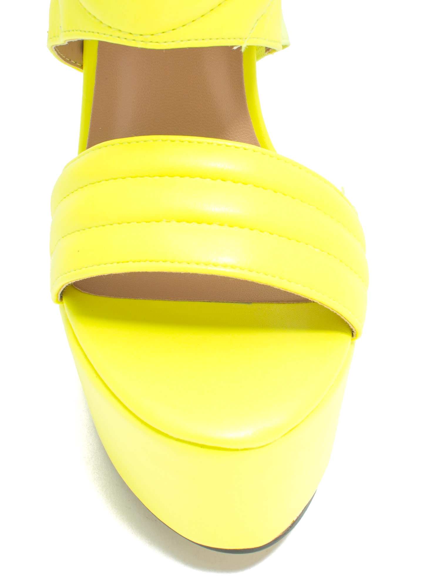 Feeling Quilty Cut-Out Platform Heels NEONYELLOW