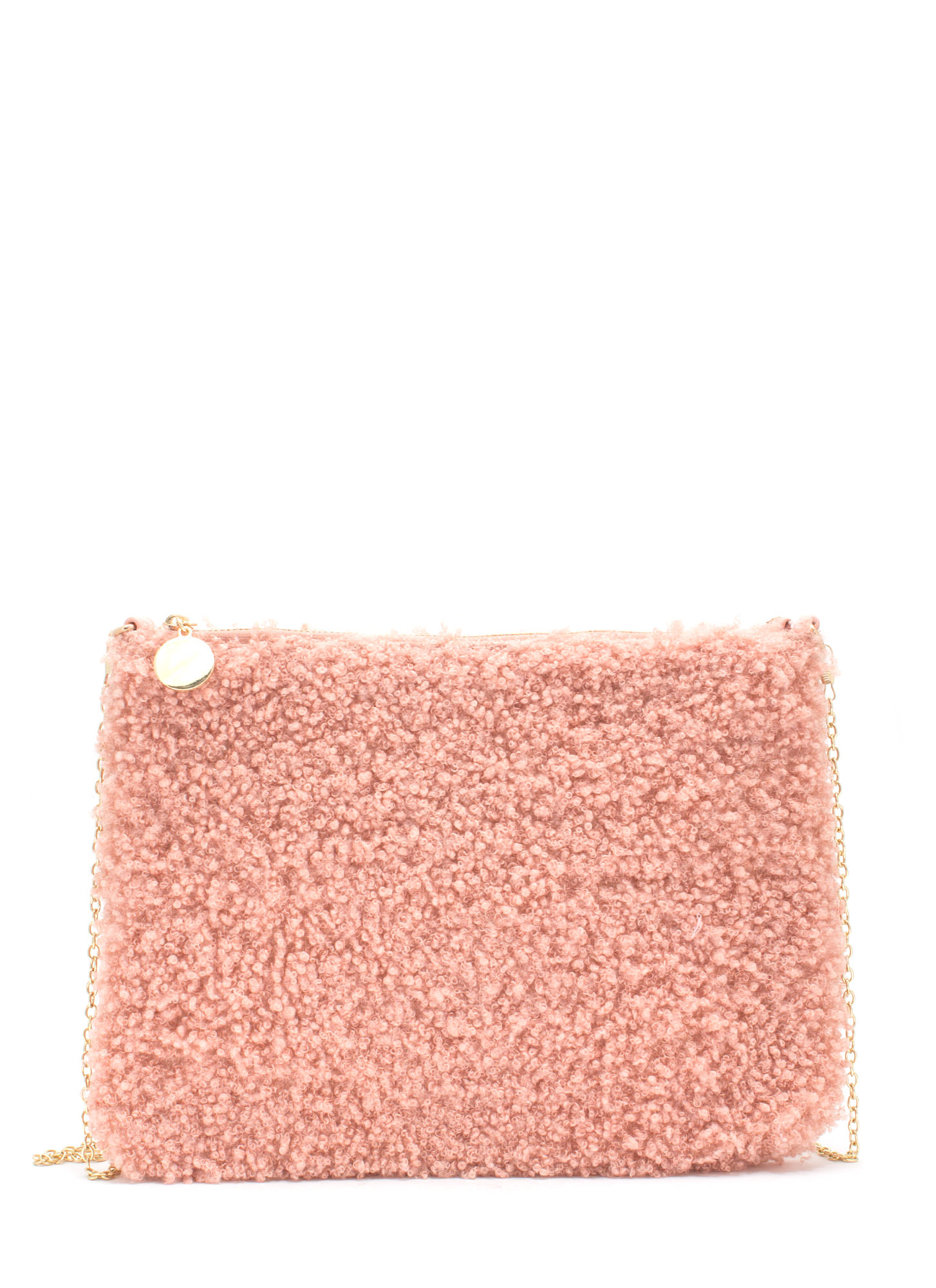 Fuzzy Feel Rectangle Clutch BLUSH