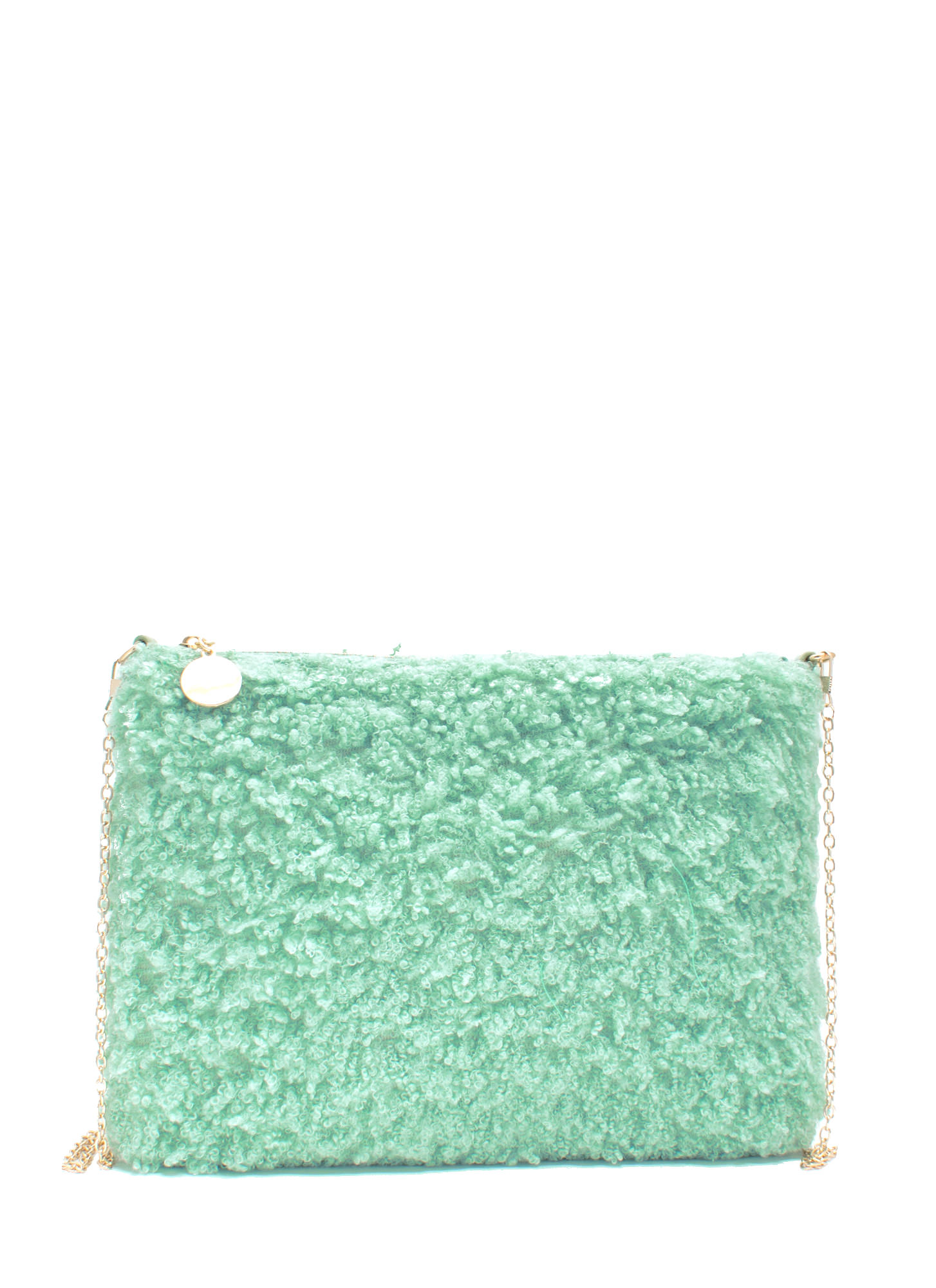 Fuzzy Feel Rectangle Clutch MINT