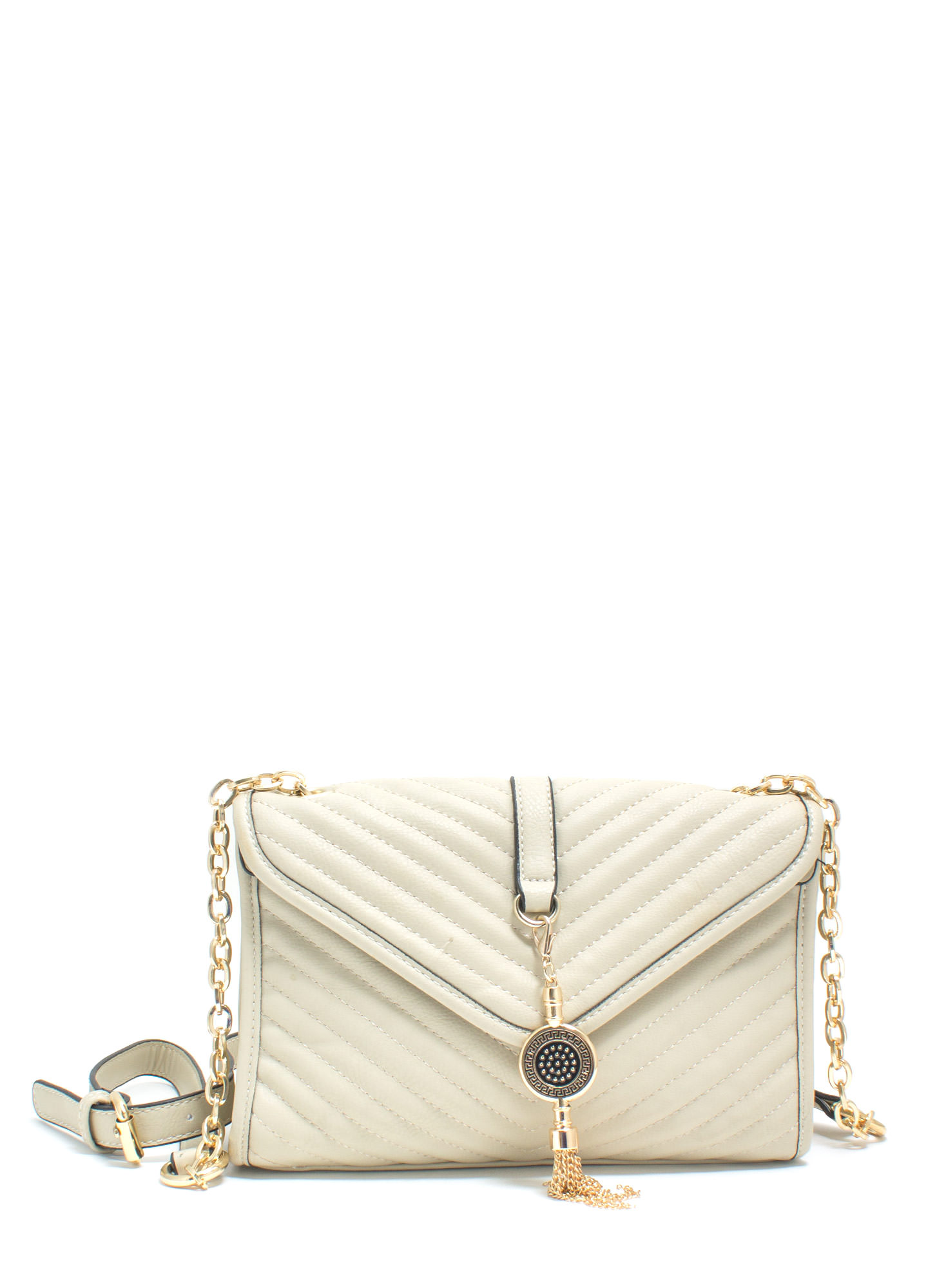 Quilty As Charged Faux Leather Clutch BEIGE