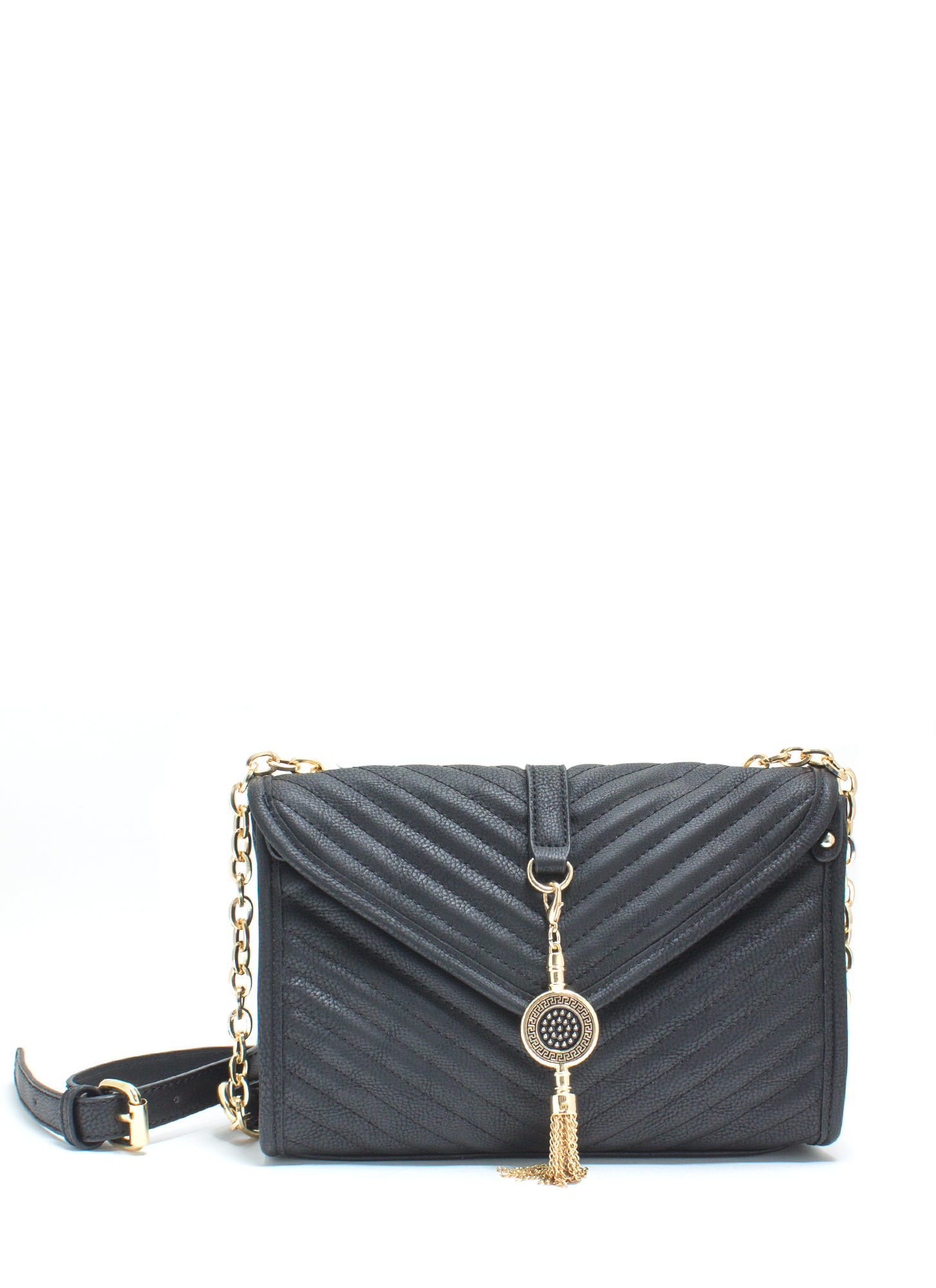 Quilty As Charged Faux Leather Clutch BLACK
