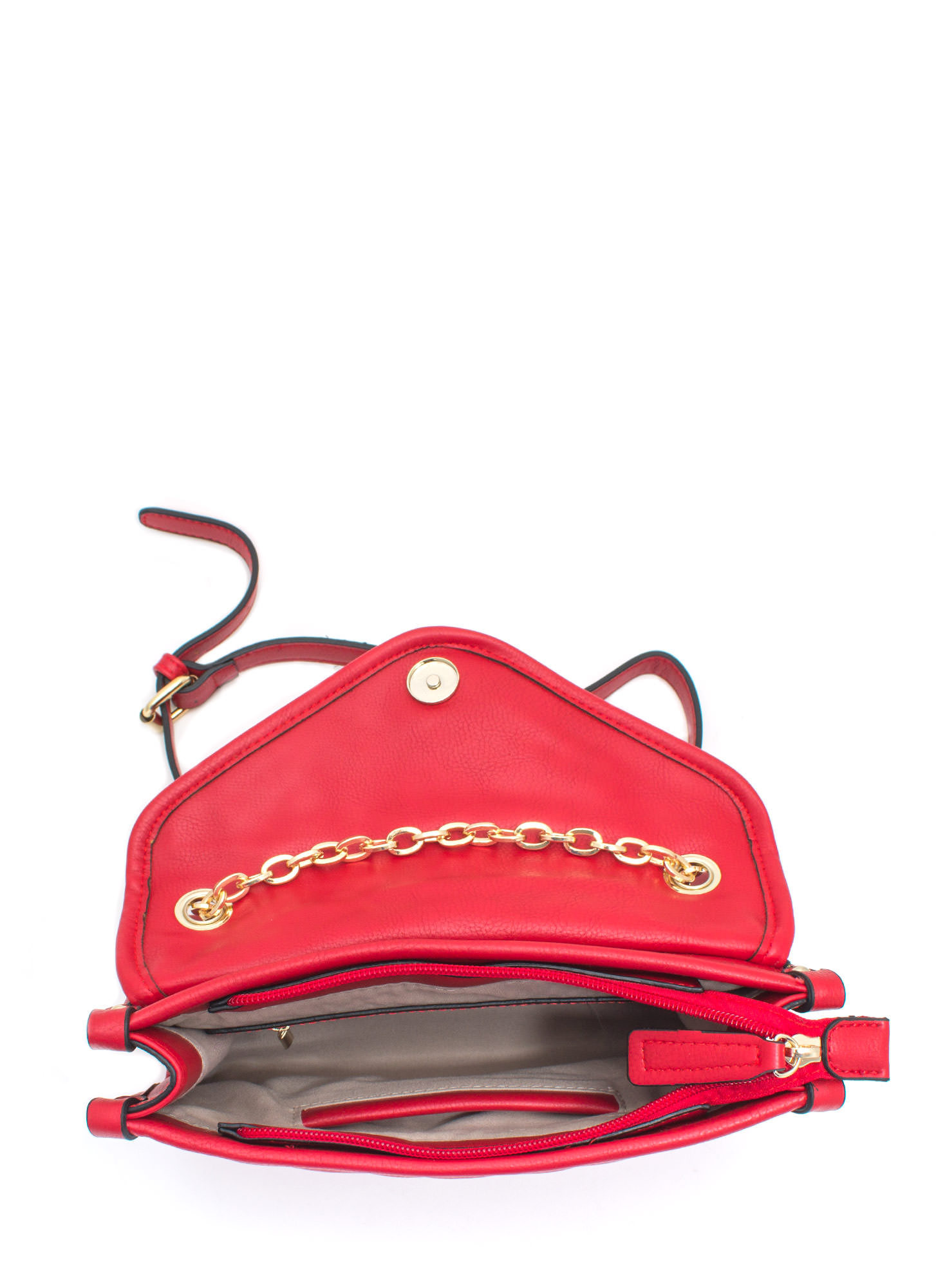 Quilty As Charged Faux Leather Clutch RED