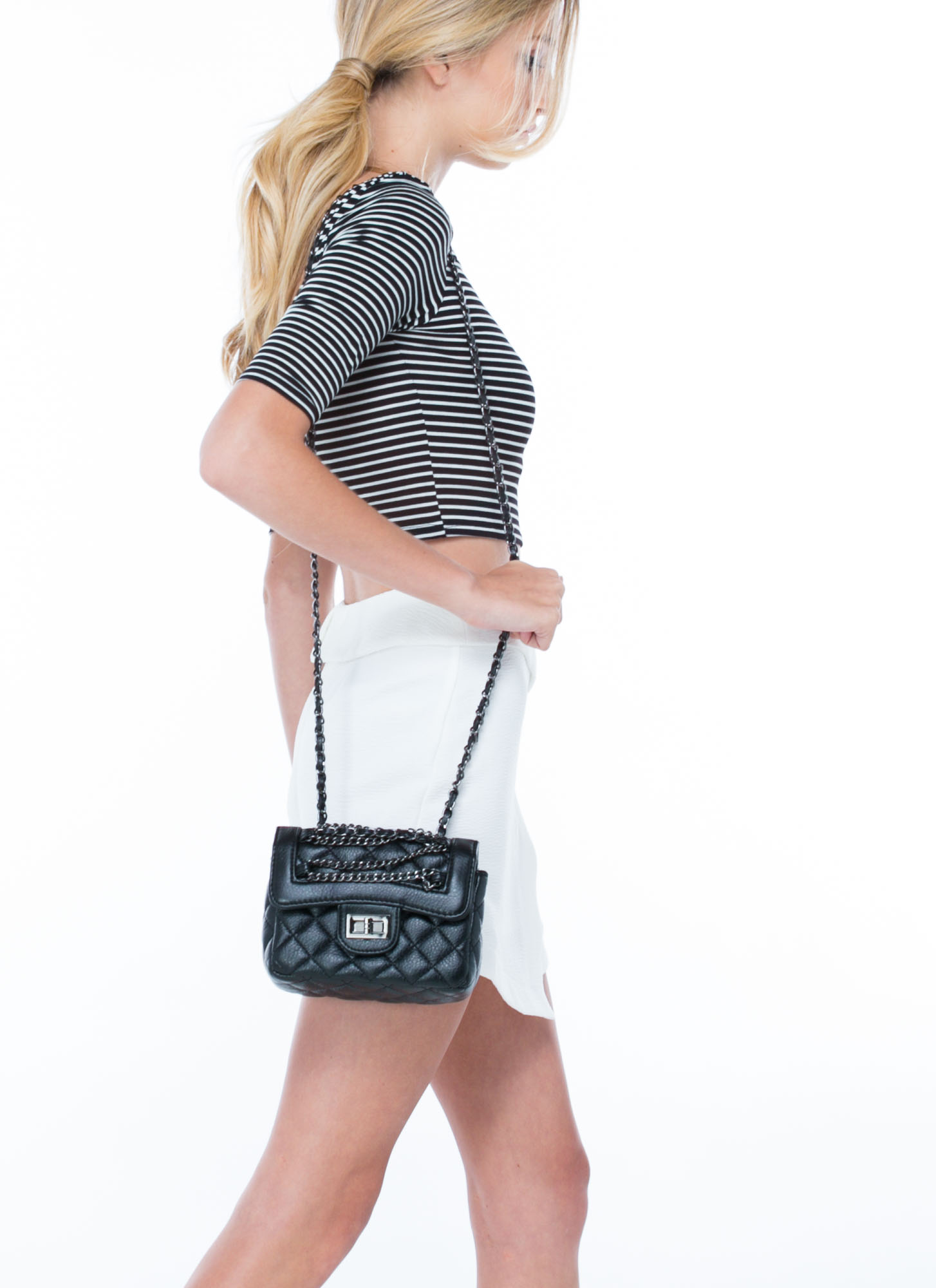 Quilty Chains Faux Leather Bag BLACK