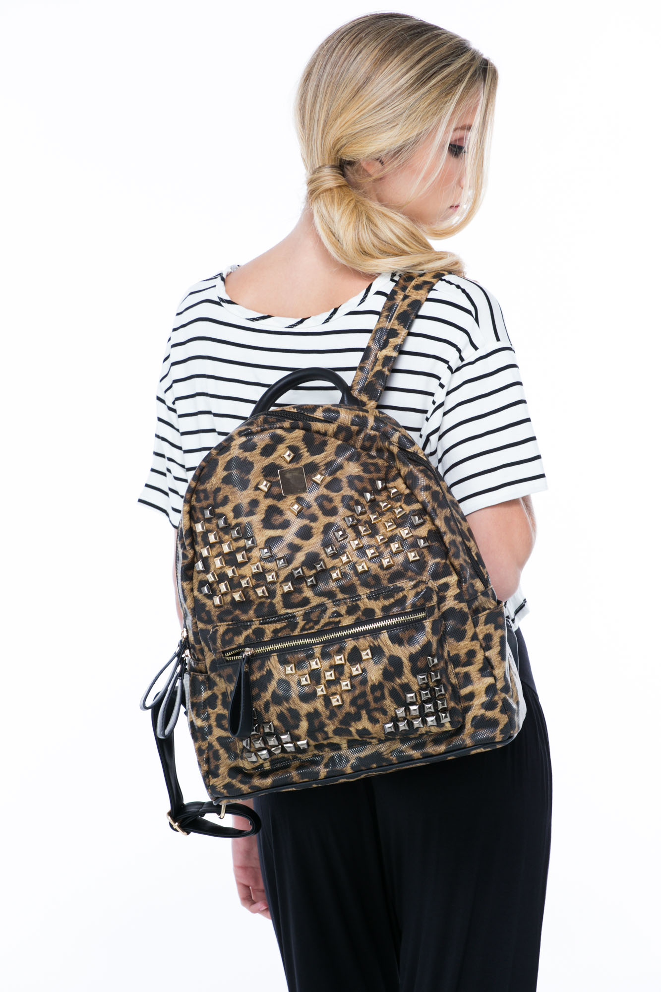 Stand Out Studded Leopard Backpack LEOPARD