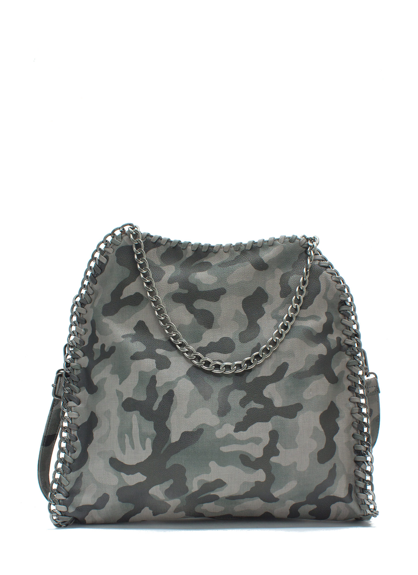 Be Seen Faux Leather 'N Chains Handbag GREYOLIVE